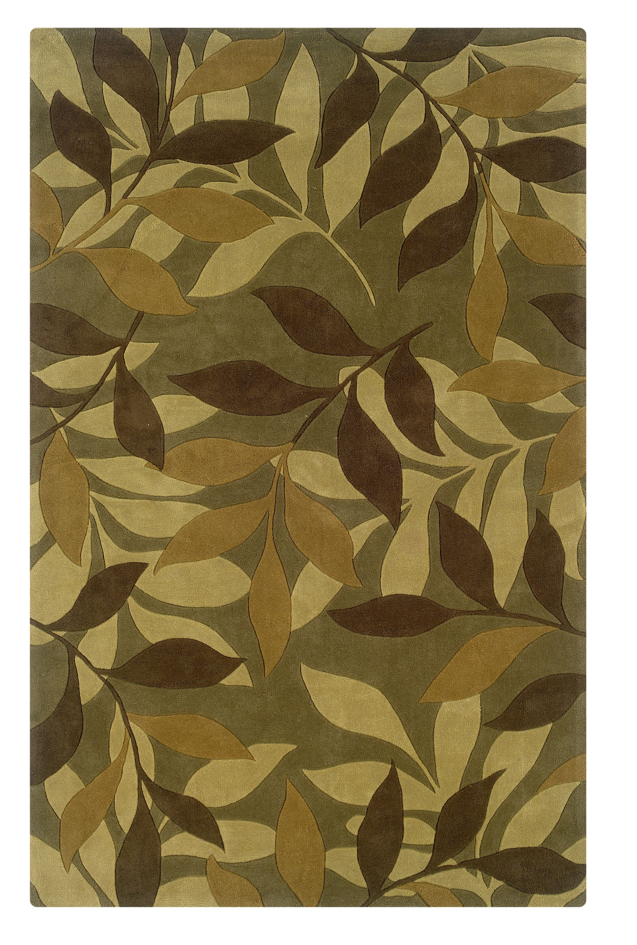 Safford Hand-Tufted Green/Brown Area Rug Rug Size: Rectangle 5' x 7'