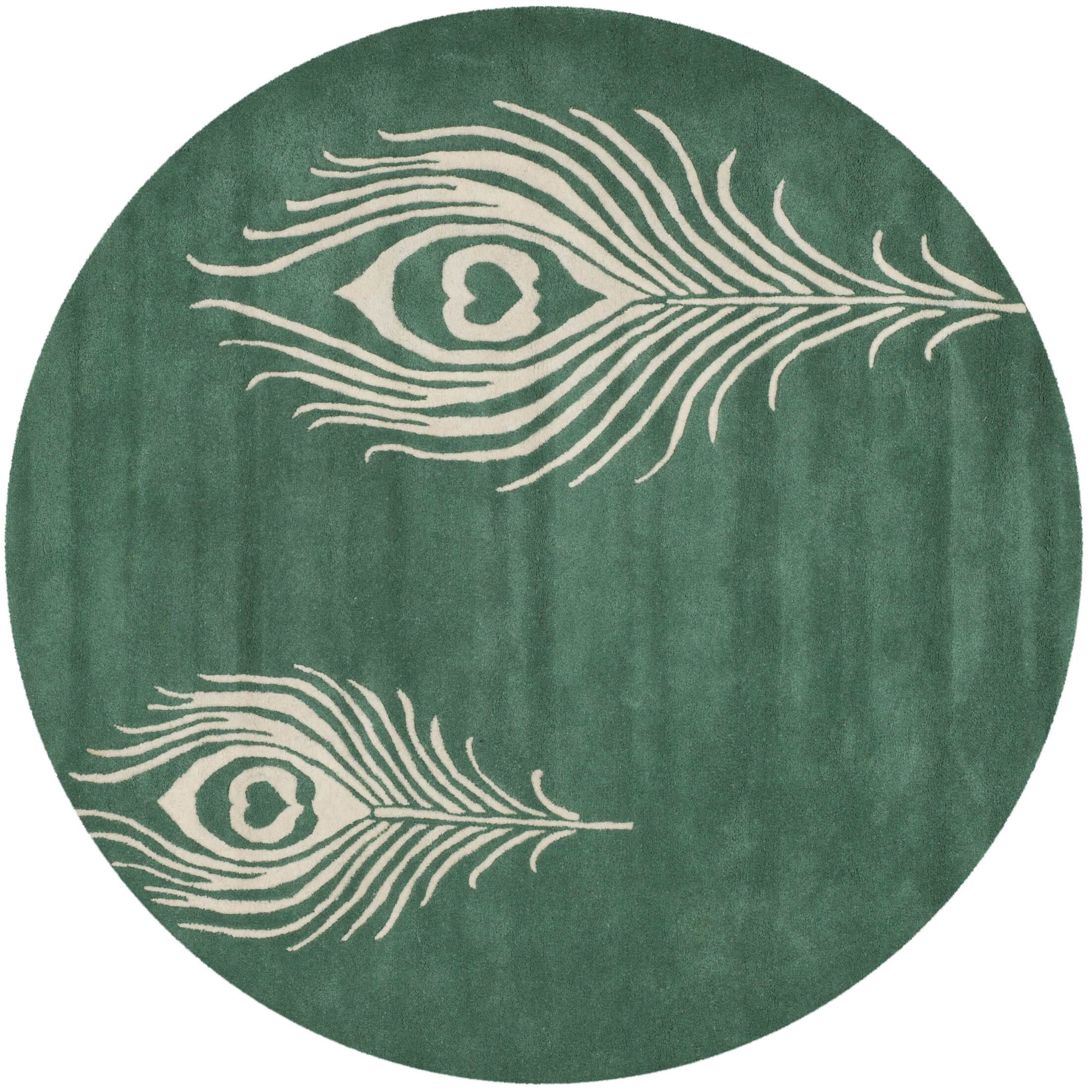 Dorthy Teal / Ivory Contemporary Rug Rug Size: Round 6'