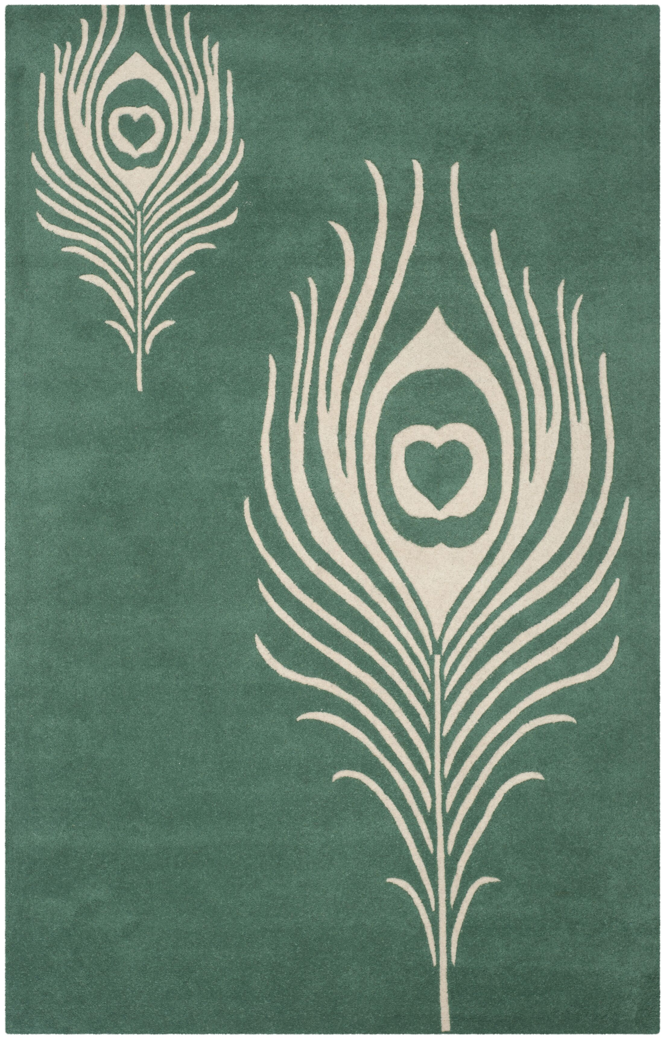 Dorthy Teal / Ivory Contemporary Rug Rug Size: Rectangle 5' x 8'