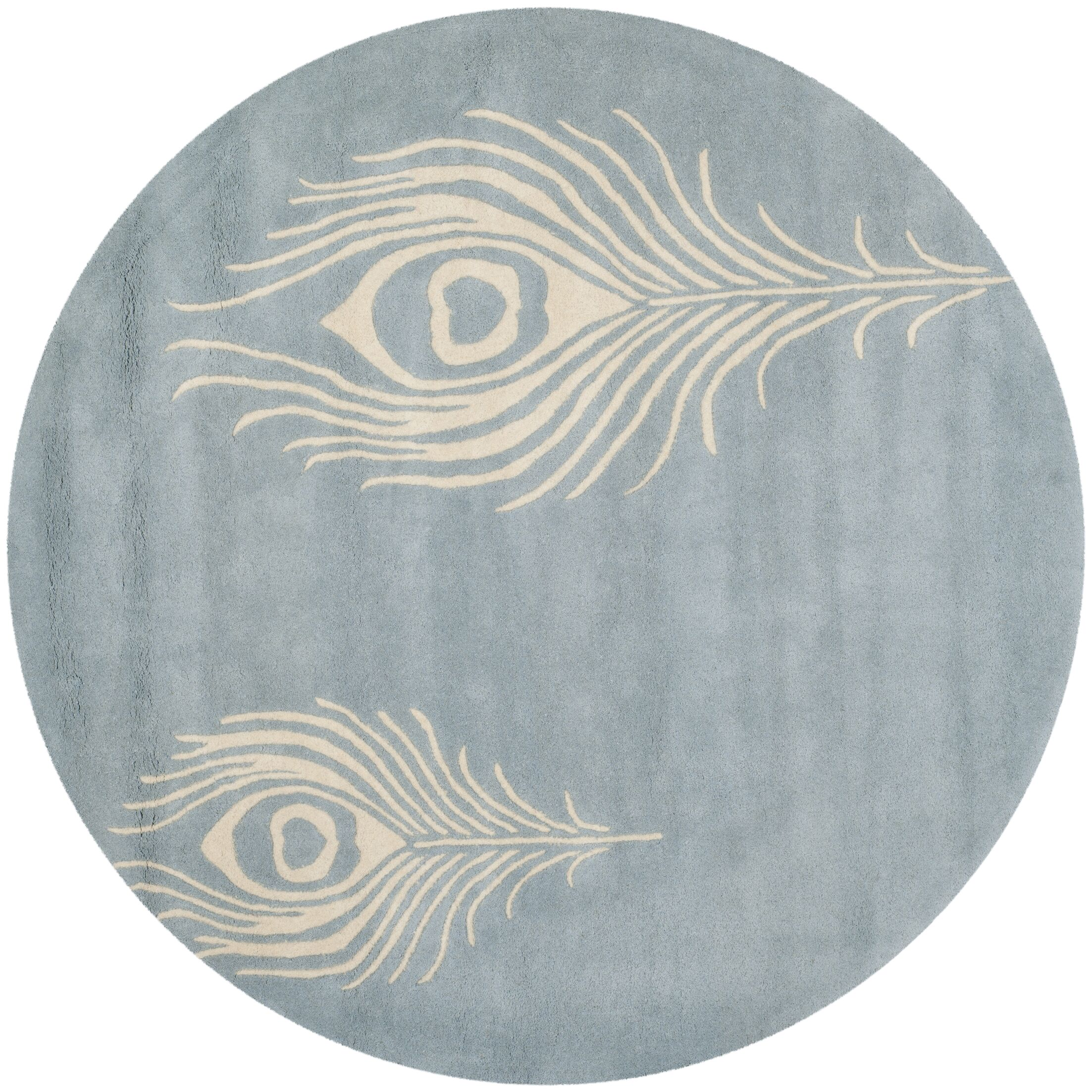 Dorthy Light Blue / Ivory Contemporary Rug Rug Size: Round 6'