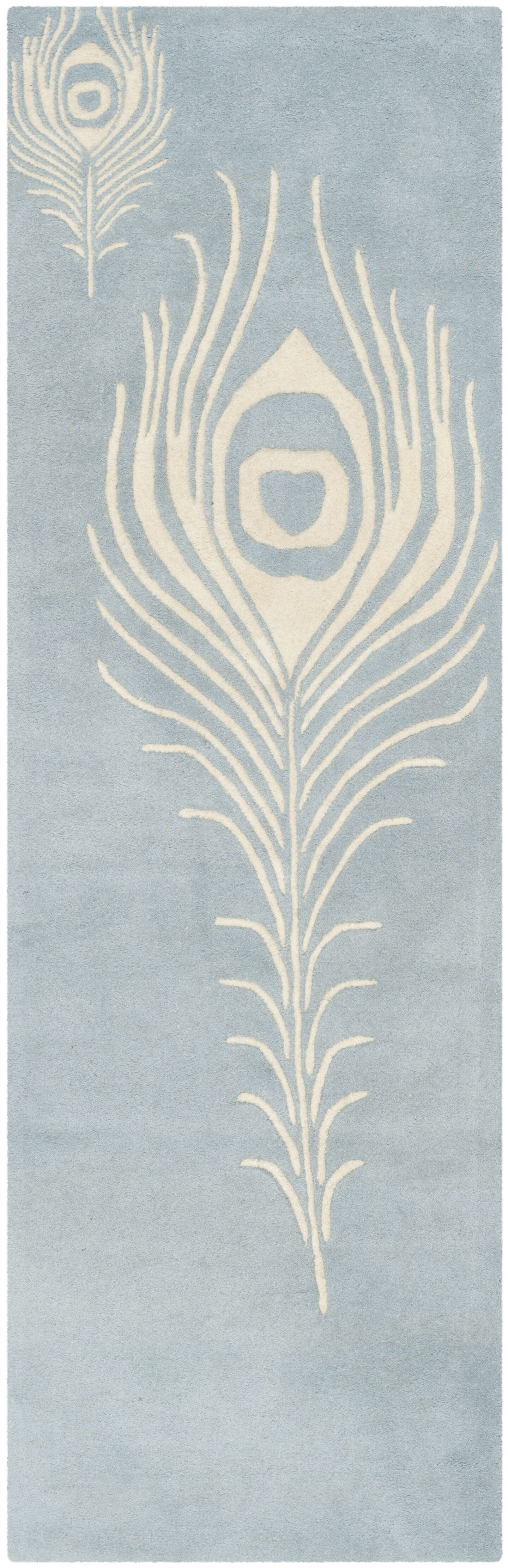 Dorthy Light Blue / Ivory Contemporary Rug Rug Size: Runner 2'6