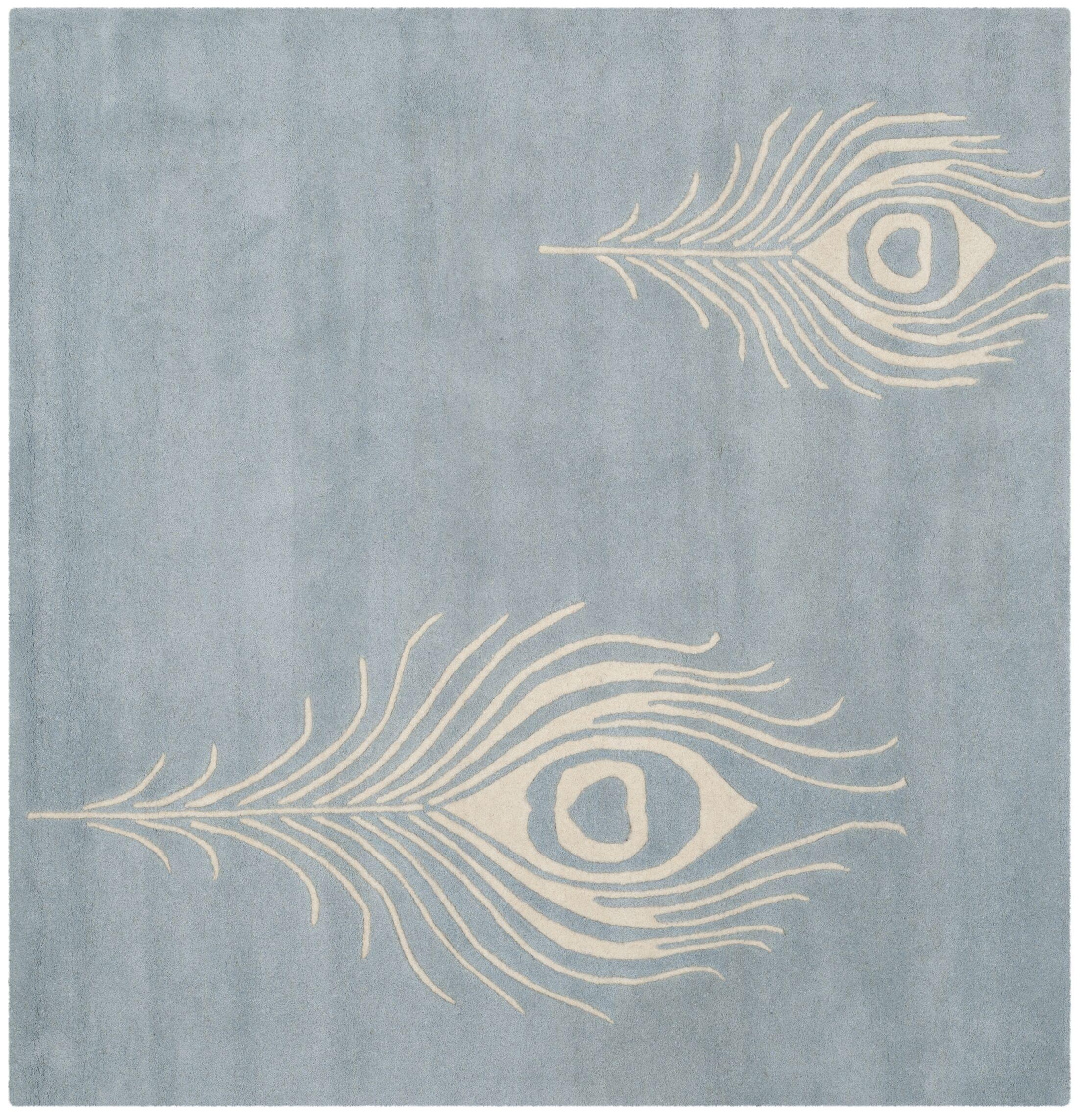 Dorthy Light Blue / Ivory Contemporary Rug Rug Size: Square 6'