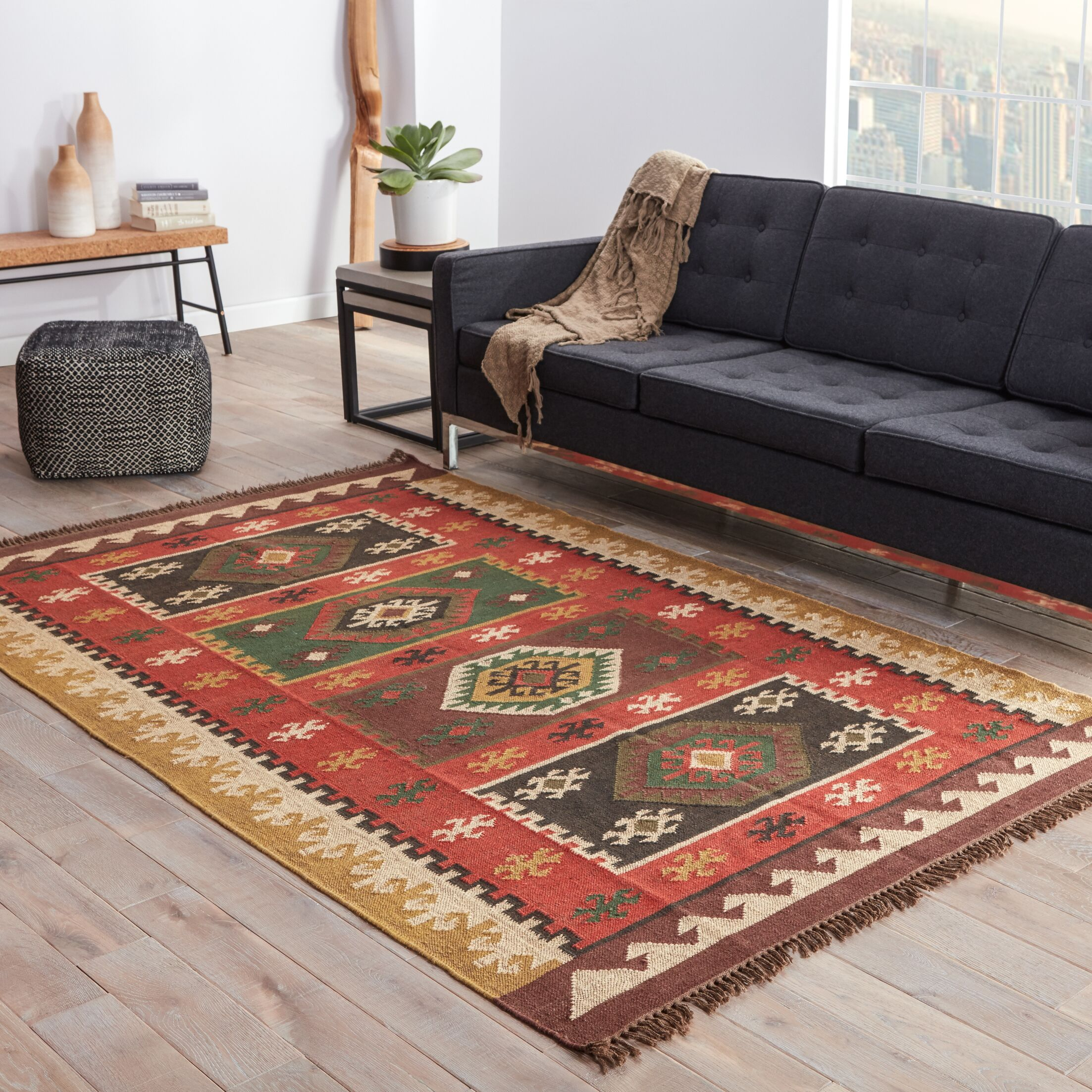 Addre Red/Yellow Area Rug Rug Size: Rectangle 9' X 12'