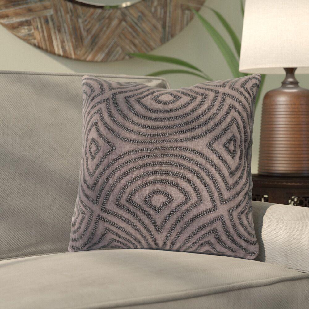 Abbara Linen and Beads Throw Pillow Size: 22