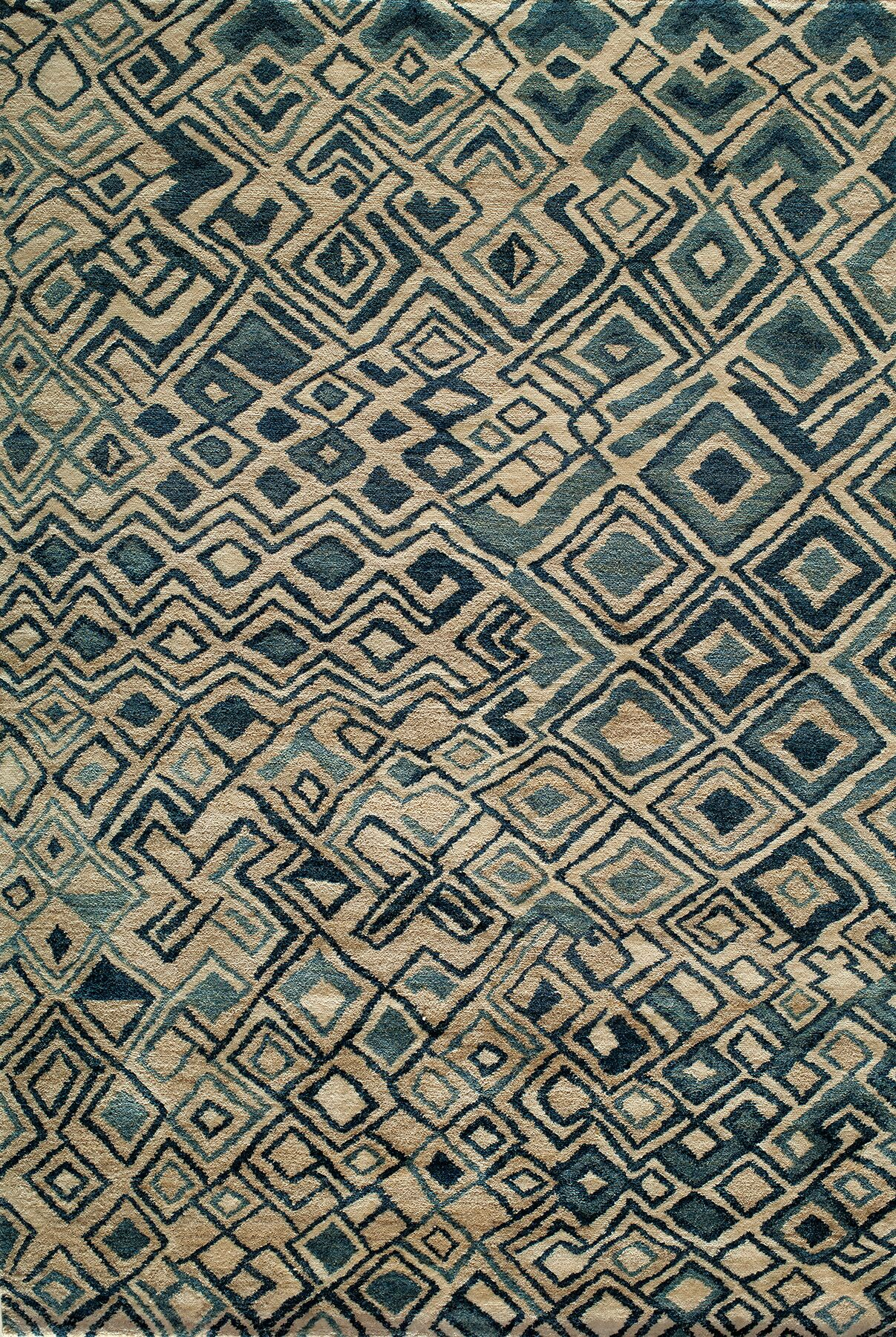 Zaria Hand-Knotted Teal/Cream Rug Rug Size: Rectangle 2' x 3'