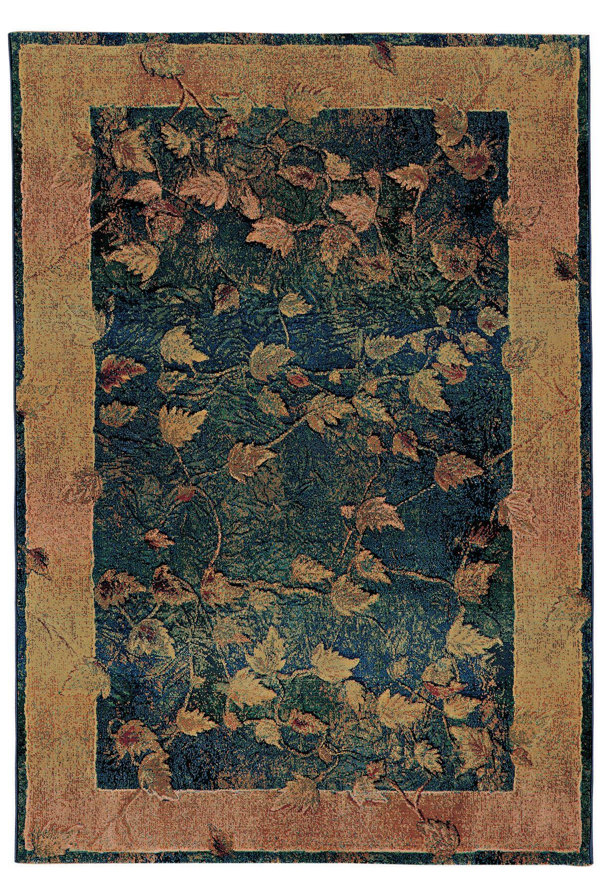 Rosabel Border Blue/Gold Area Rug Rug Size: Rectangle 4' x 5'9