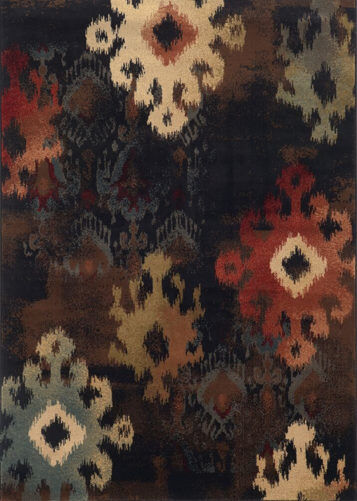 Gary Black/Tan Area Rug Rug Size: Round 7'8