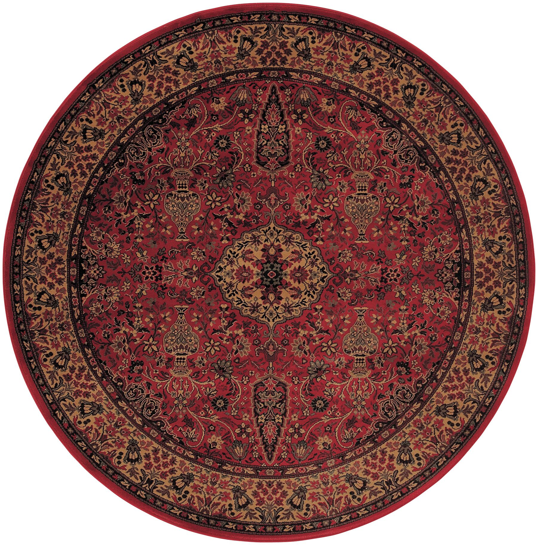Amsbry Red/Gold Area Rug Rug Size: Round 3'11