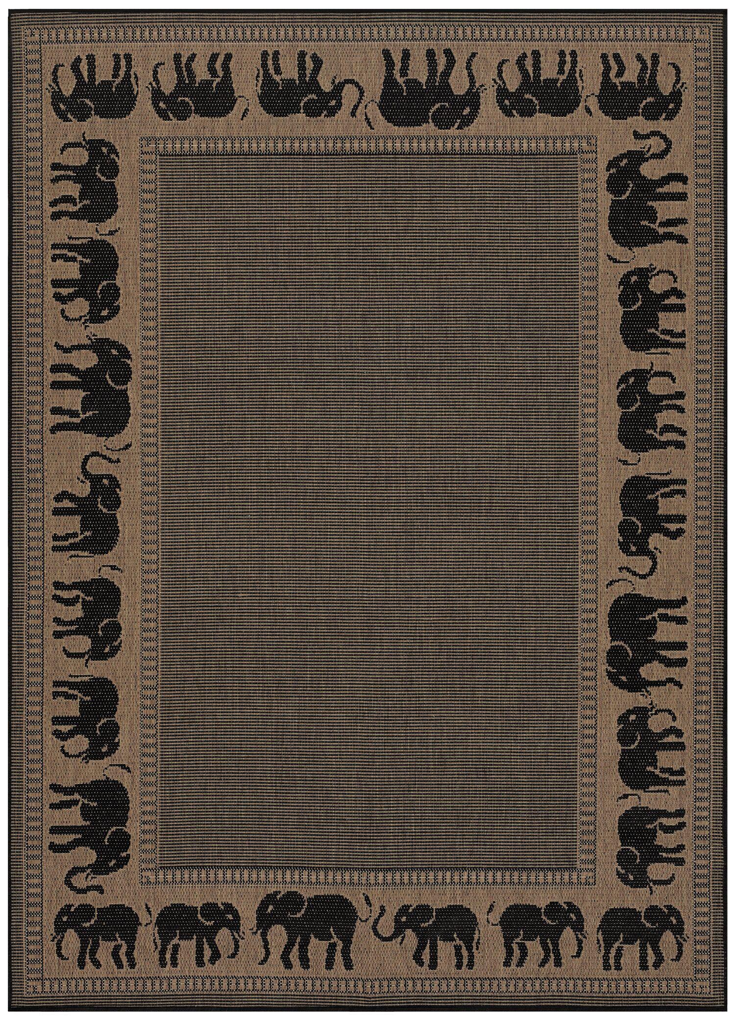 Sawtelle Black/Beige Indoor/Outdoor Area Rug Rug Size: Rectangle 7'6
