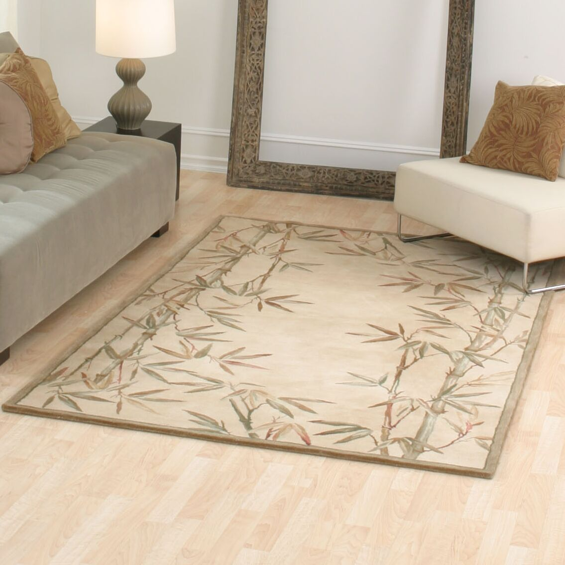 Chenai Ivory Bamboo Border Area Rug Rug Size: Rectangle 3'6