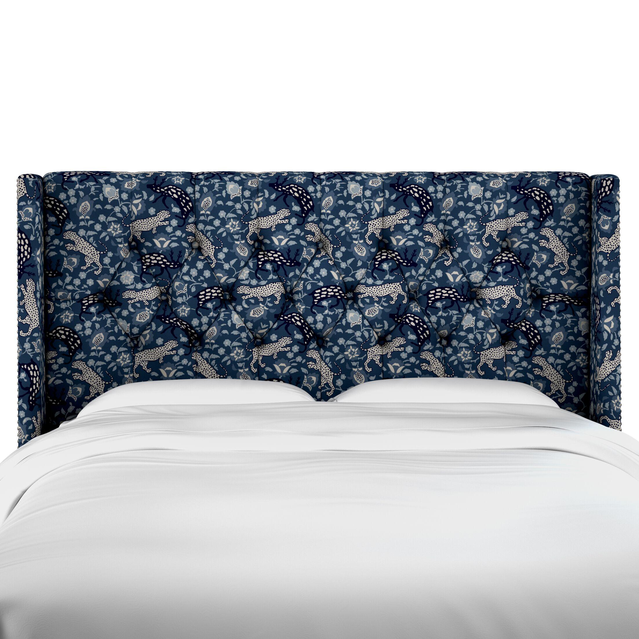 Flavia Tufted Linen Upholstered Wingback Headboard Size: California King