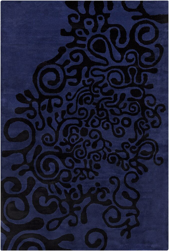 Fortson Hand Tufted Wool Violet-Blue/Black Area Rug Rug Size: 8' x 10'