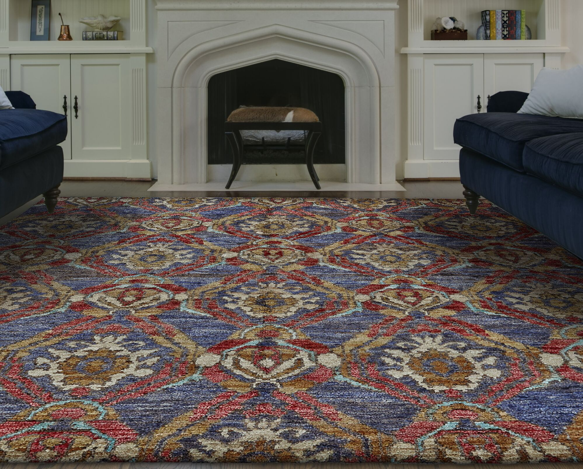 Arron Hand-Knotted Navy/Red Area Rug Rug Size: Rectangle 9'6