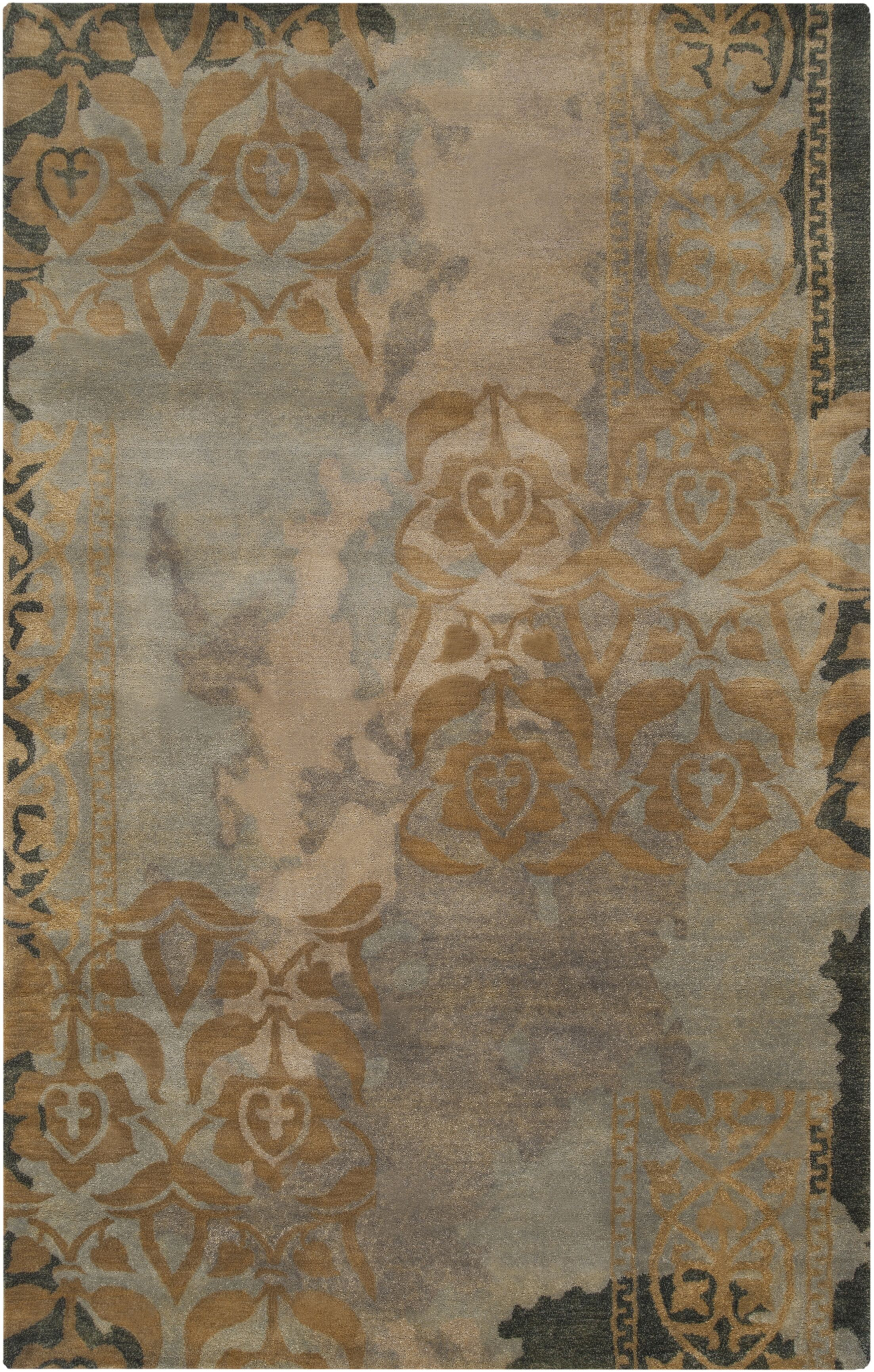 Brees Hand-Tufted Medium Gray/Camel Area Rug Rug Size: Rectangle 2' x 3'