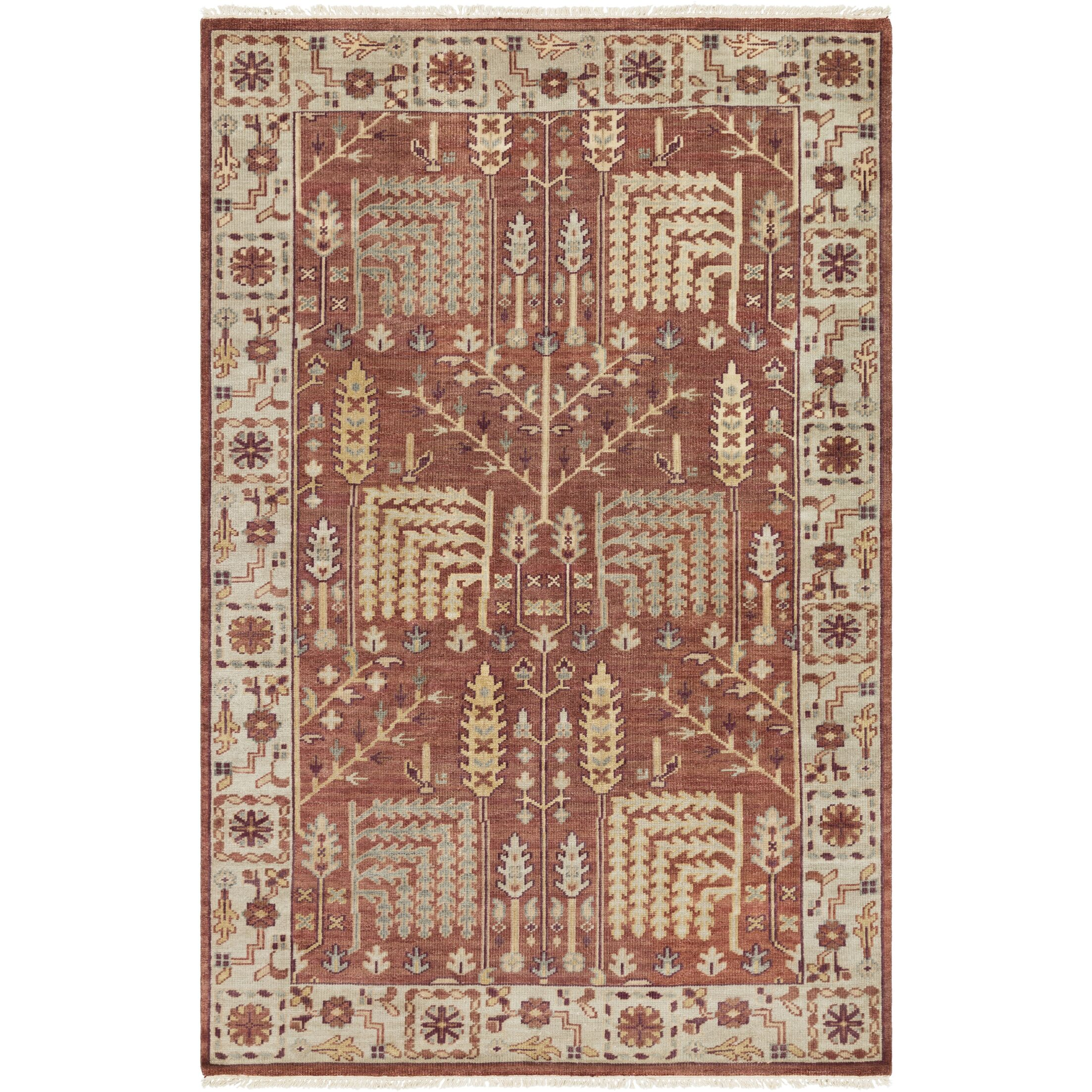 Carlisle Hand-Knotted Camel/Burgundy Area Rug Rug Size: Rectangle 6' x 9'