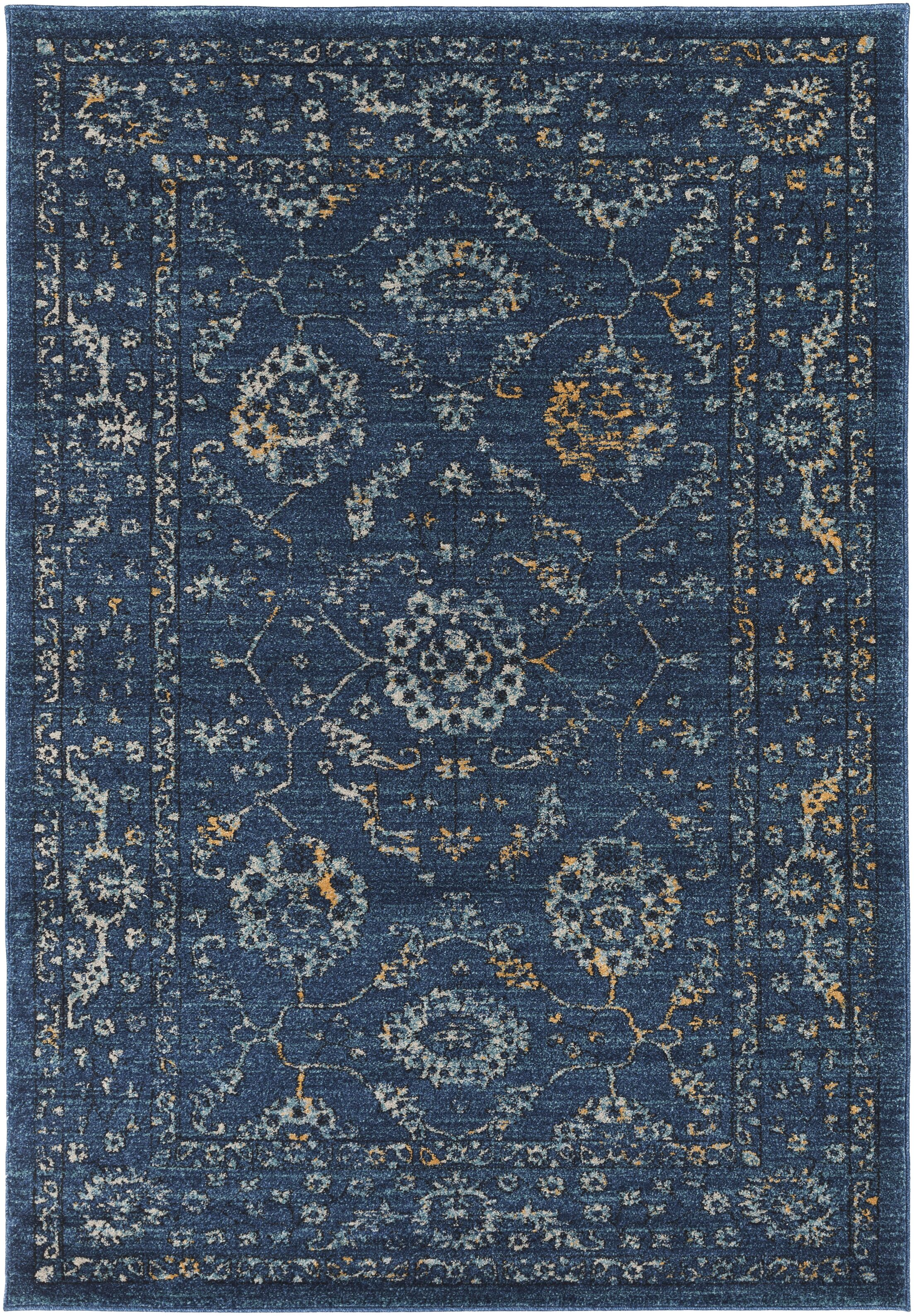 Cassian Navy/Teal Area Rug Rug Size: Rectangle 5'3
