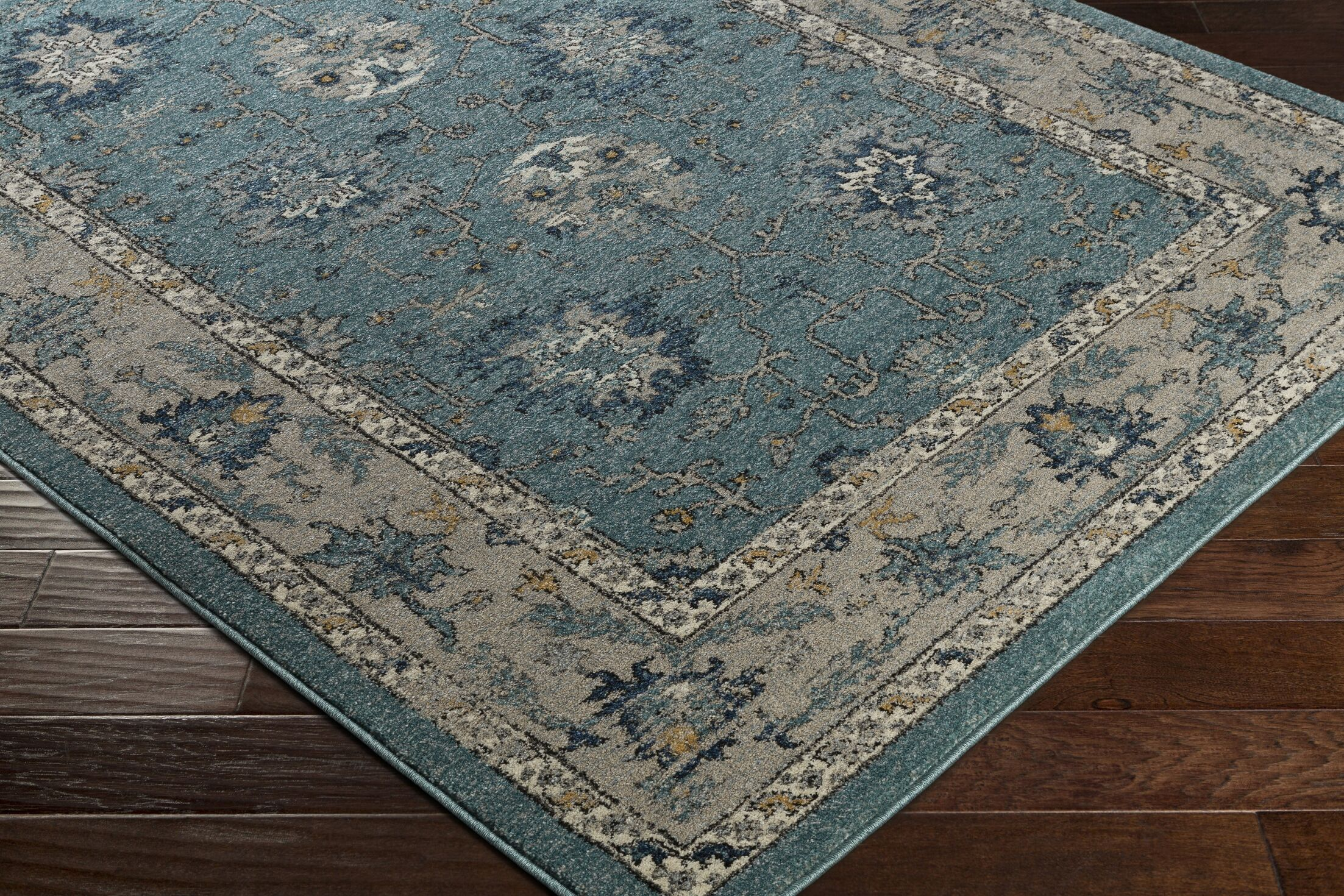 Cassian Teal/Taupe Area Rug Rug Size: Rectangle 7'10