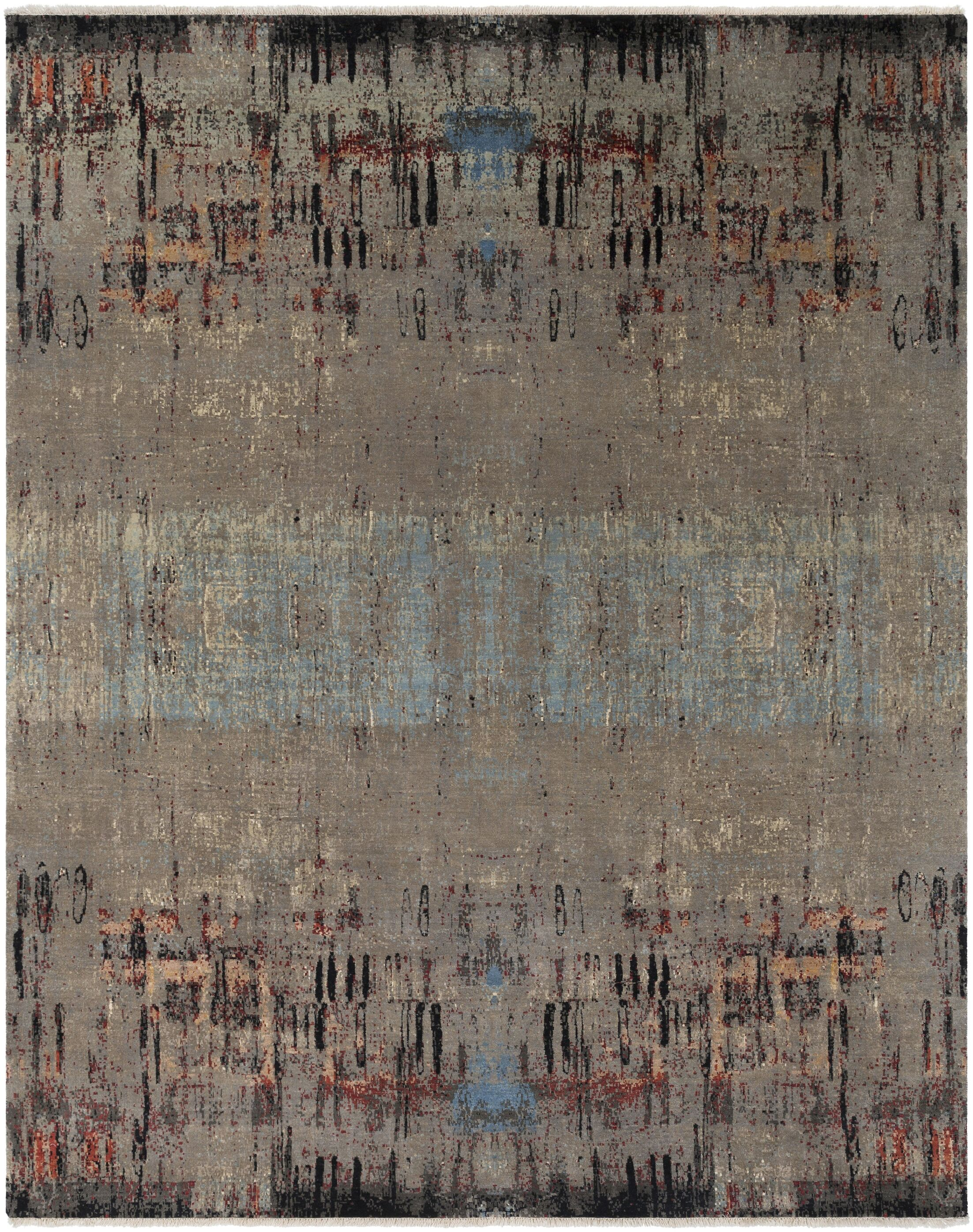 Cleve Hand-Knotted Camel/Aqua Area Rug Rug Size: Rectangle 8' x 10'