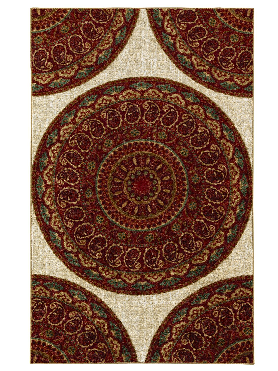 Vermont Beige/Red Area Rug Rug Size: Rectangle 7'6