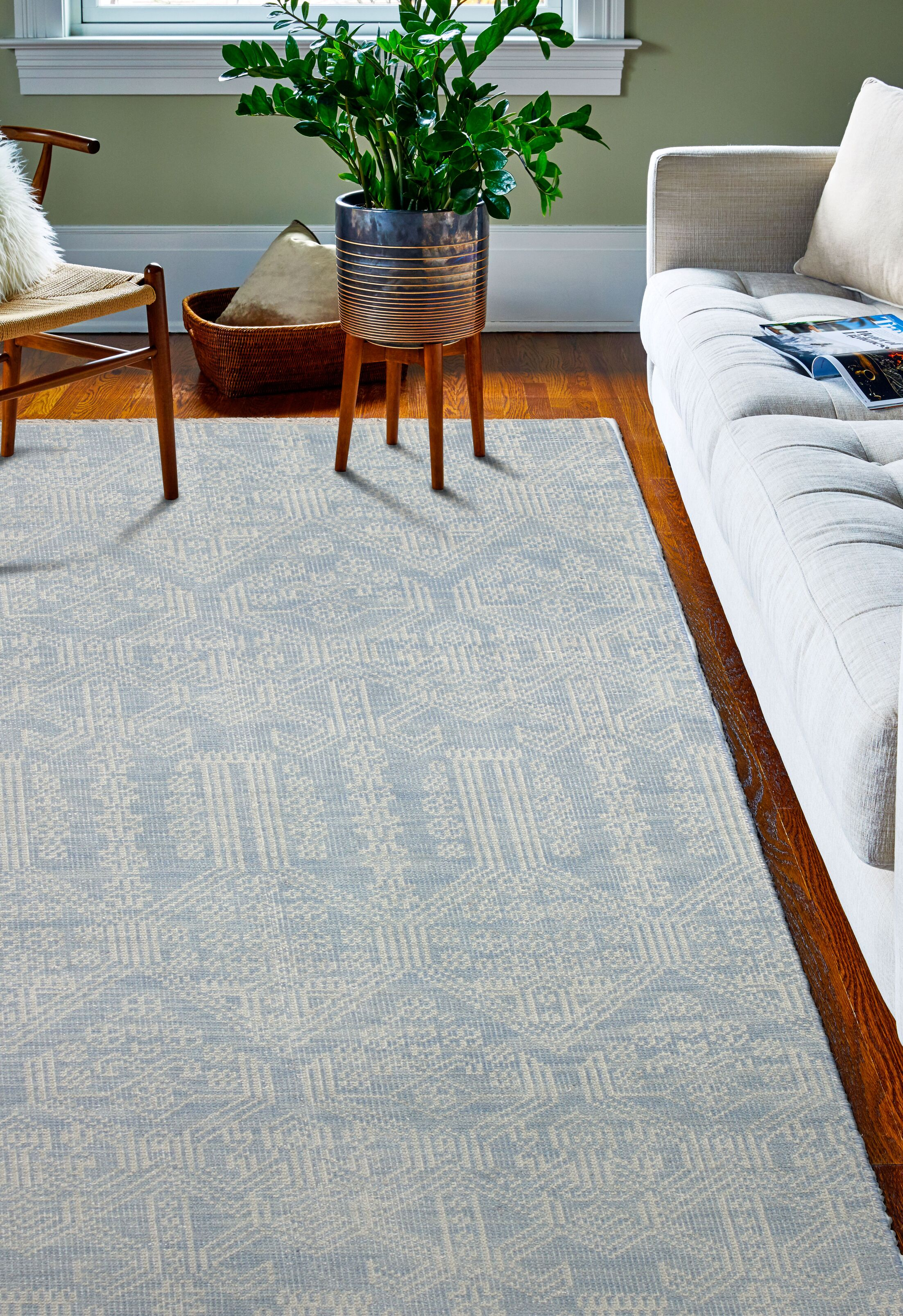 Kurtis Hand-Knotted Light Blue Area Rug Rug Size: 3'6