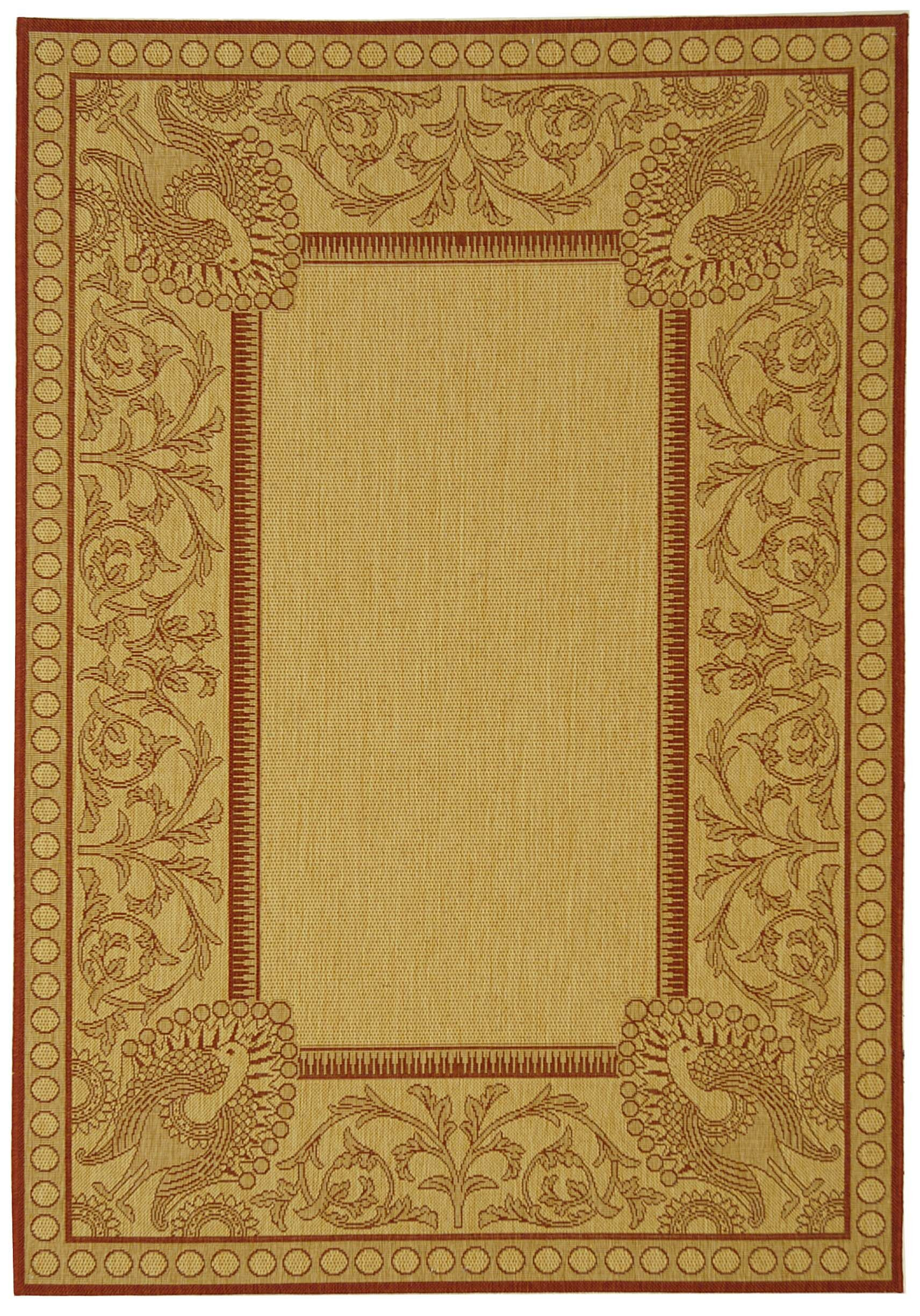 Catori Natural / Red Outdoor Area Rug Rug Size: Rectangle 9' x 12'6