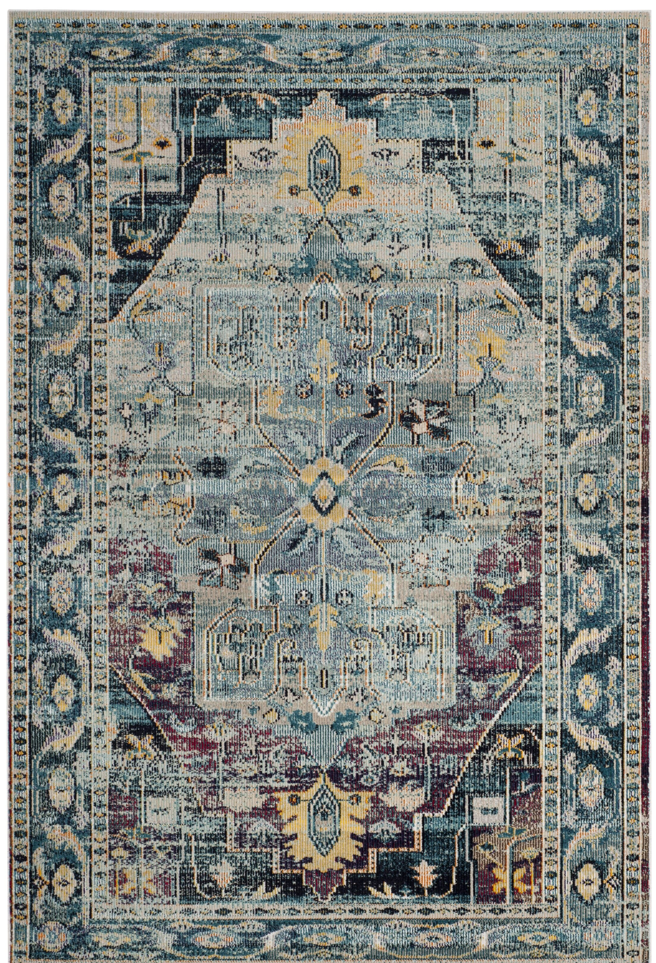 Clavier Teal/Purple Area Rug Rug Size: Runner 2' 2