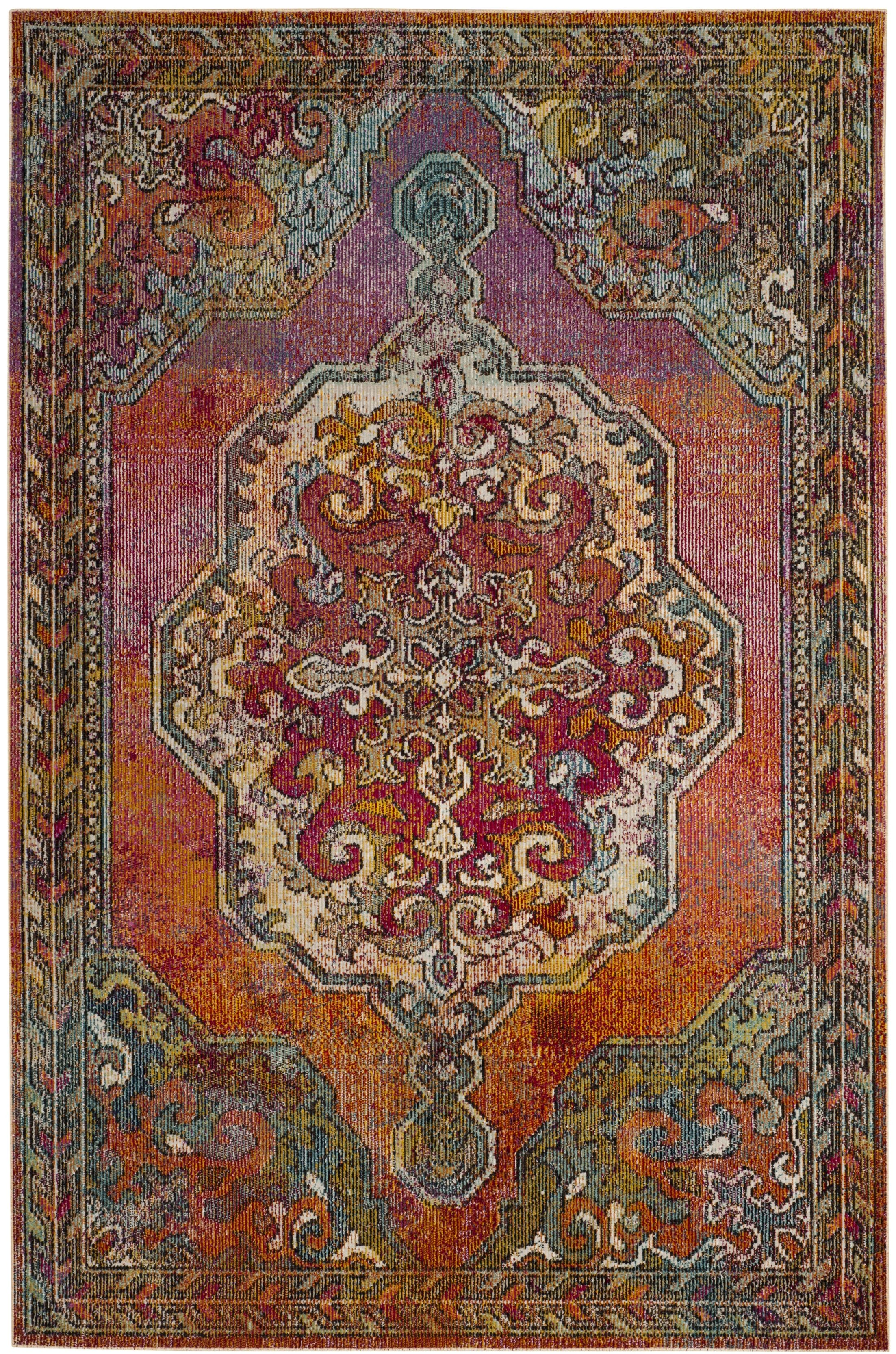 Jara Orange  Area Rug Rug Size: Round 5'