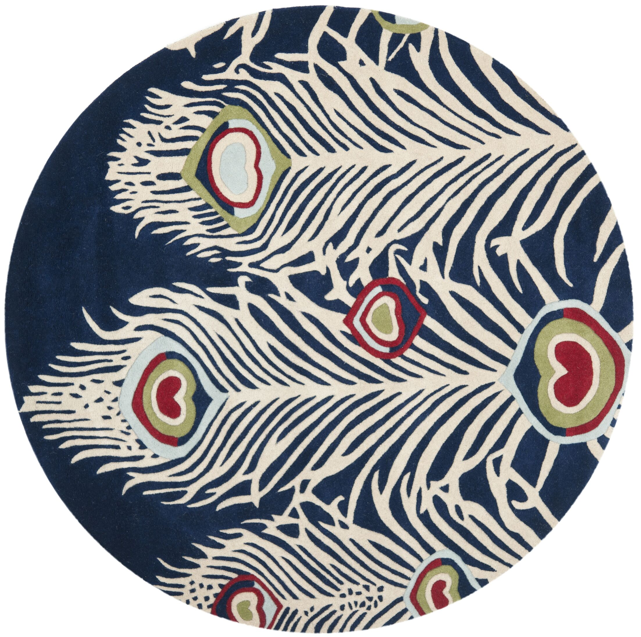 Dorthy Blue/Ivory Rug Rug Size: Round 6' x 6'