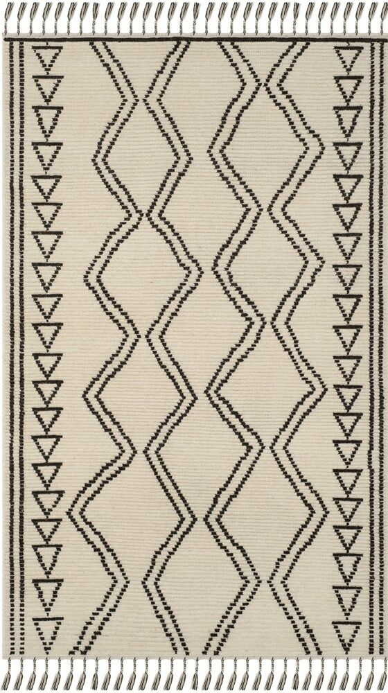 Glenoe Hand-Knotted Ivory/Black Area Rug Rug Size: Rectangle 9' x 12'