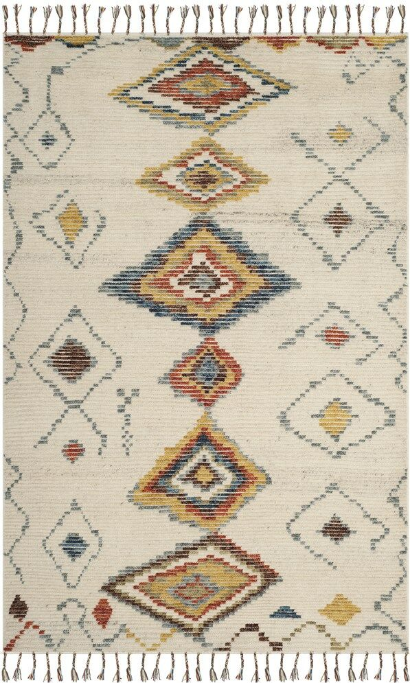 Glenoe Hand-Knotted Ivory Area Rug Rug Size: Rectangle 8' x 10'