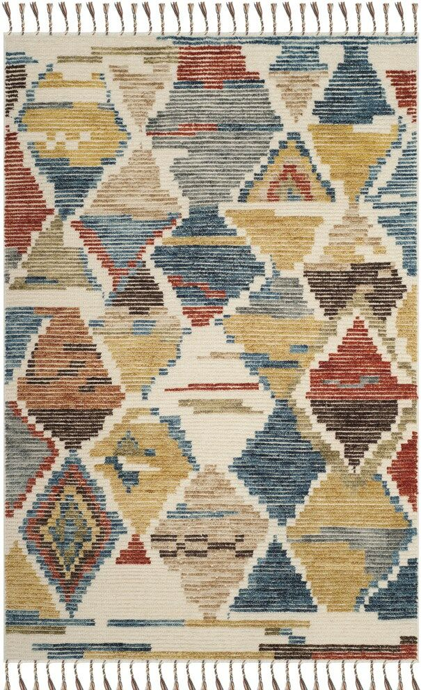 Glenoe Hand-Knotted Red/Blue Area Rug Rug Size: Rectangle 8' x 10'