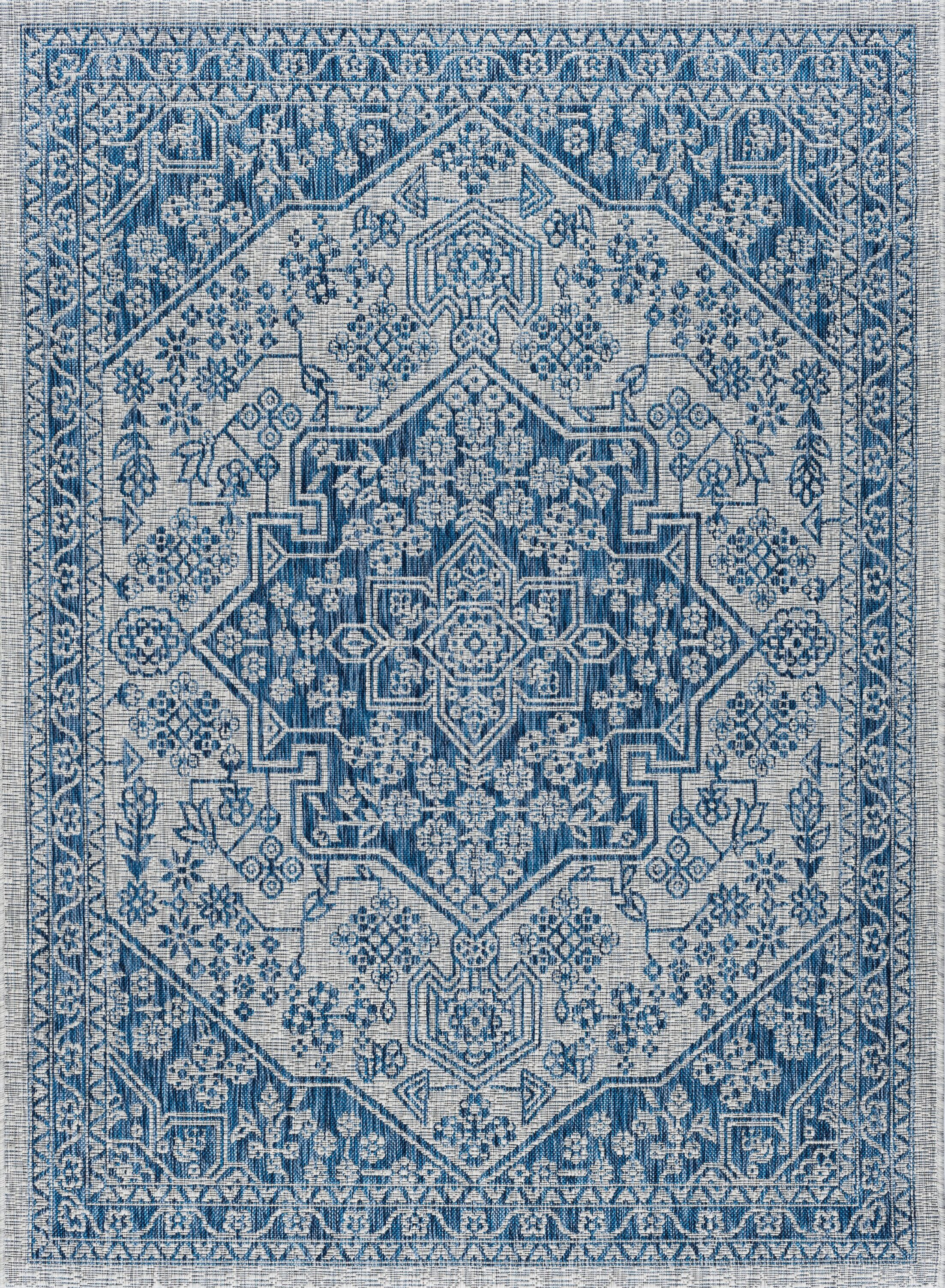 Ares Traditional Aqua Indoor/Outdoor Area Rug Rug Size: 5'3'' x 7'3''