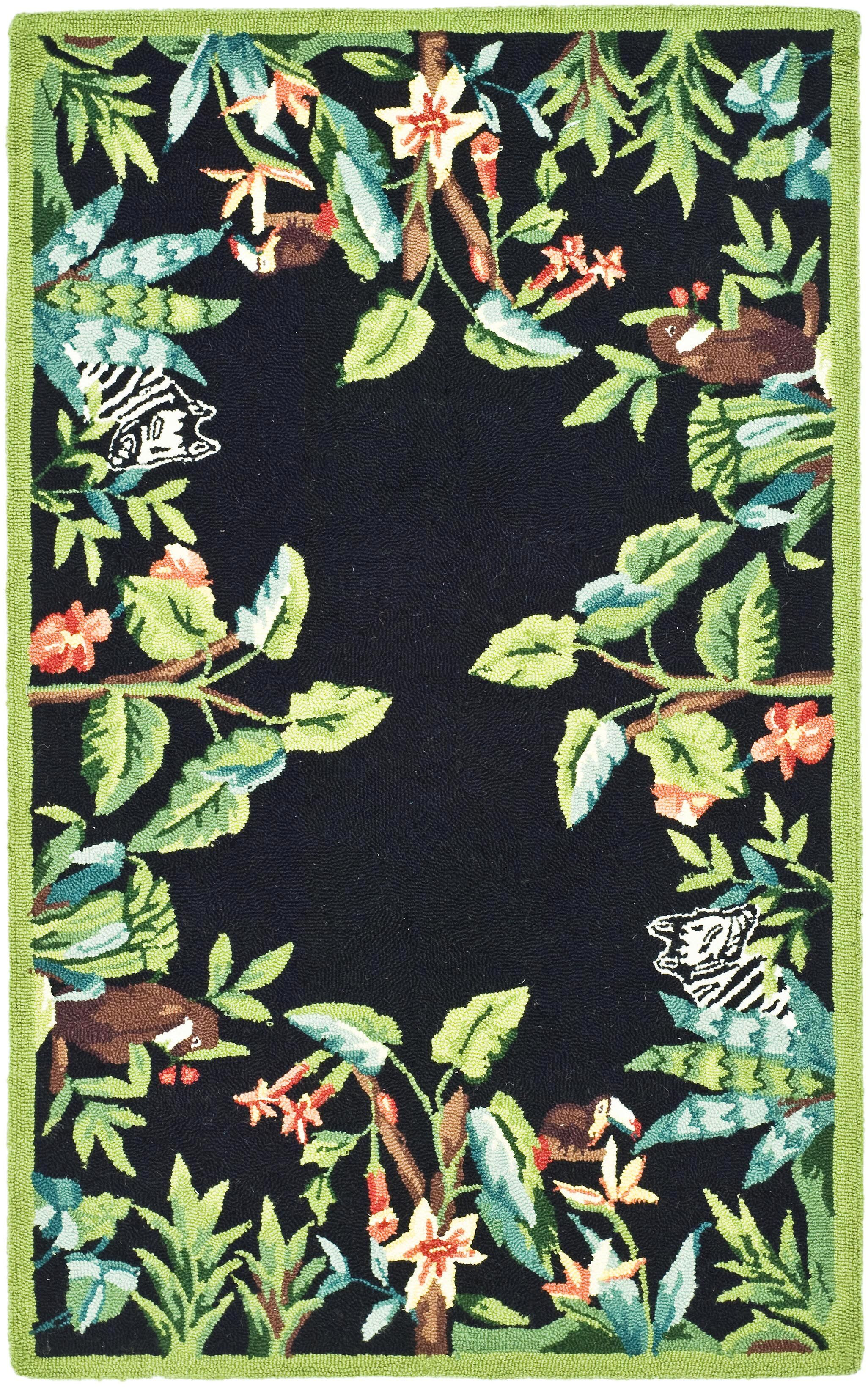 Bridges Black/Green Novelty Area Rug Rug Size: Rectangle 3'9