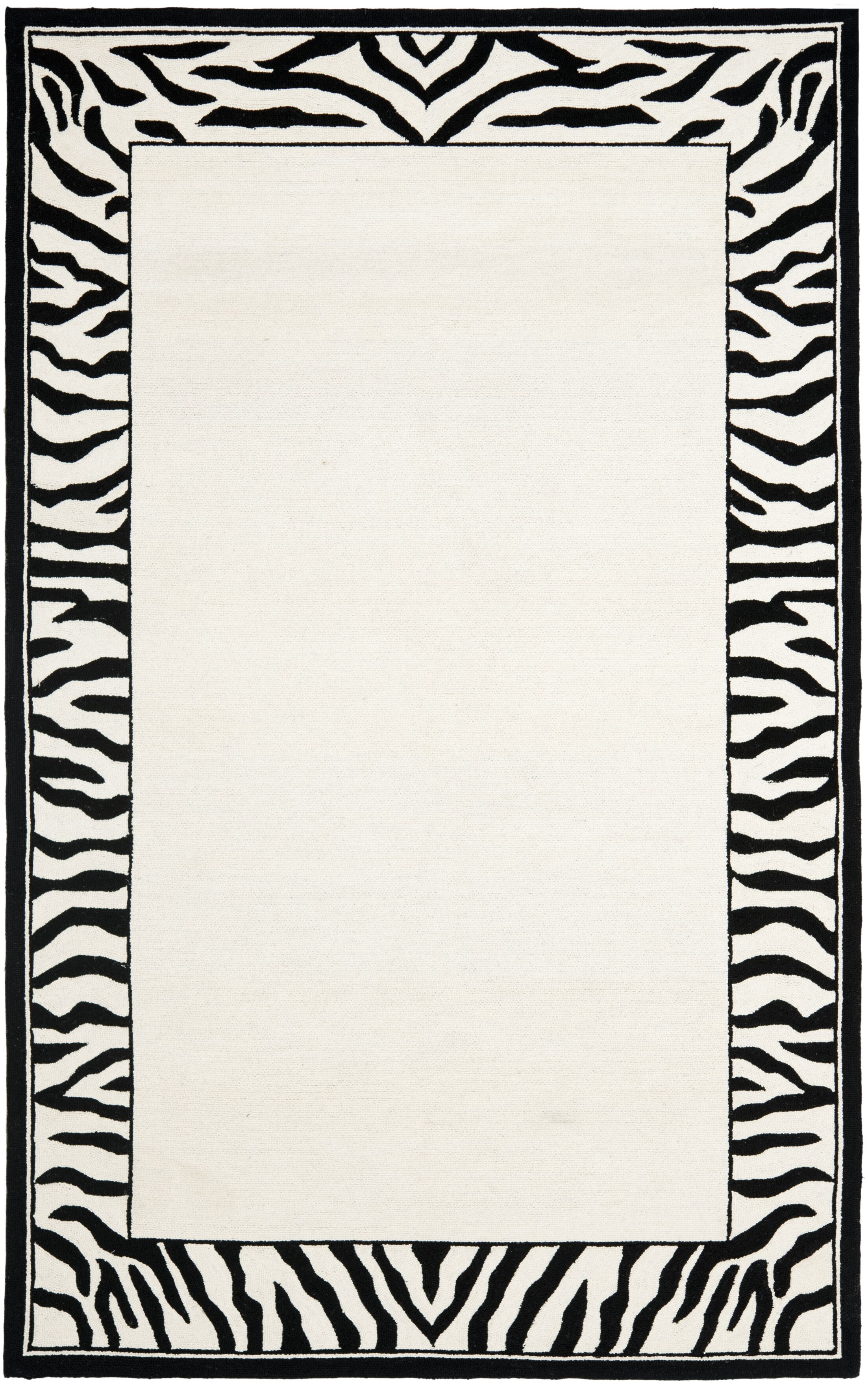 Bridges White/Black Area Rug Rug Size: Rectangle 5'3