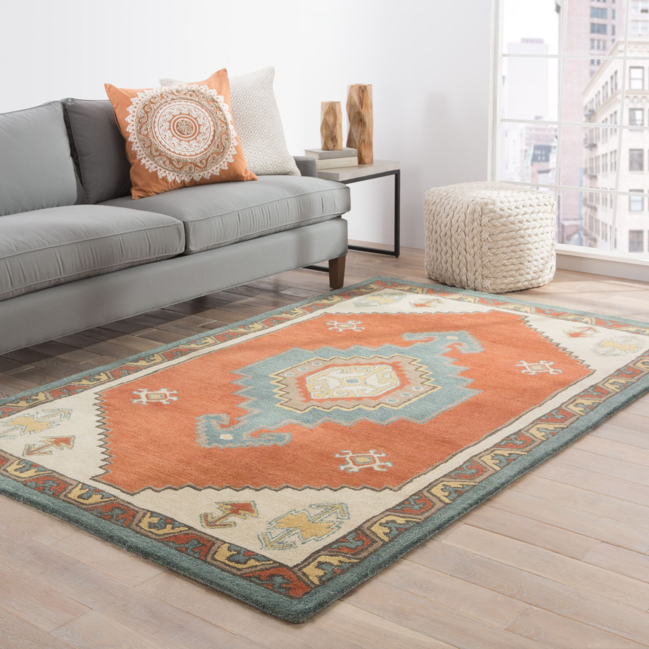 Kimmie Hand-Tufted Red/Blue Area Rug Rug Size: Rectangle 5' x 8'