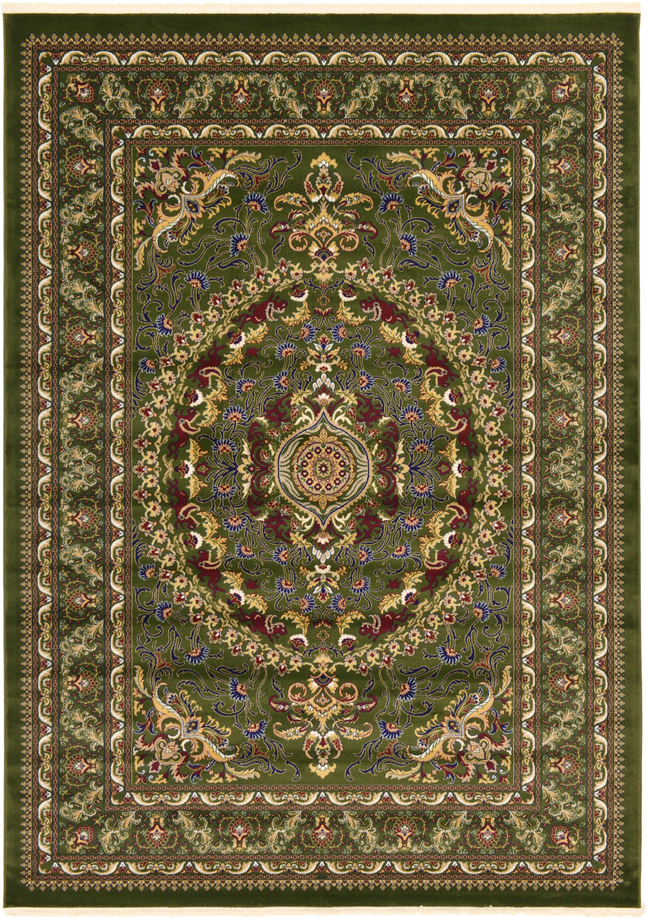 Altadena Green/Gold/Light Brown Area Rug Rug Size: Rectangle 13' x 16'5