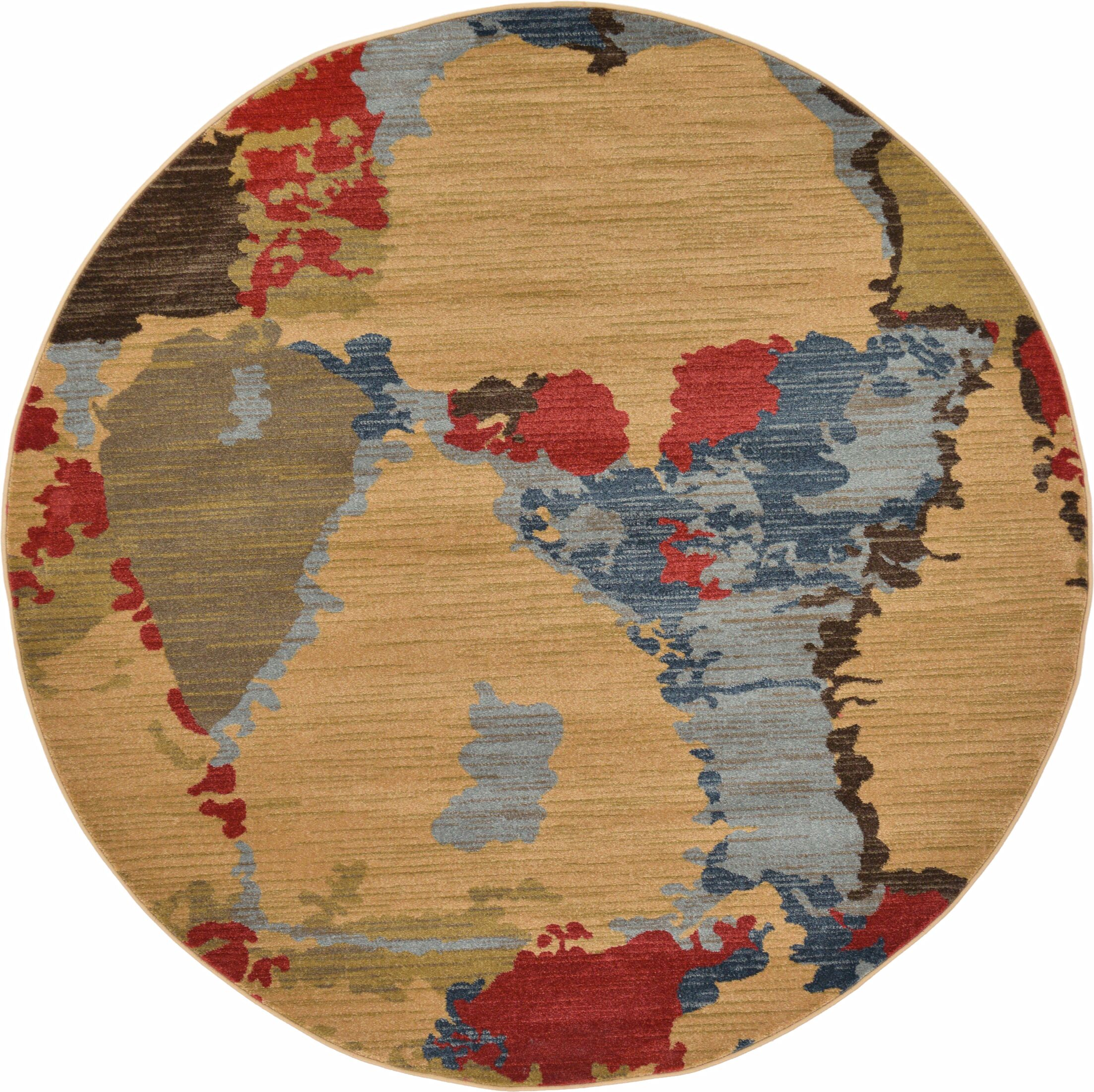 Jan Light Brown Area Rug Rug Size: Round 6'