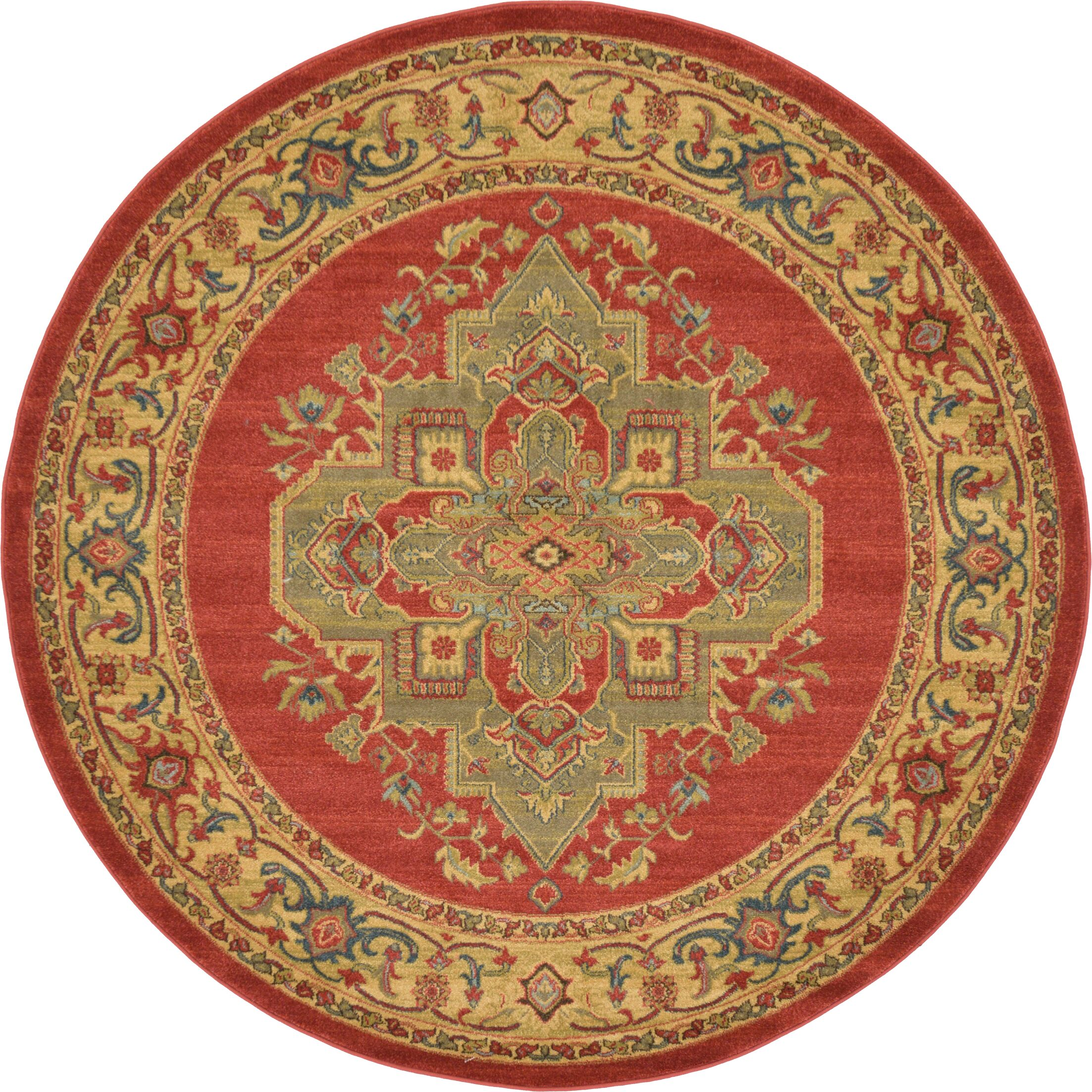 Zoey Red Area Rug Rug Size: Round 6'