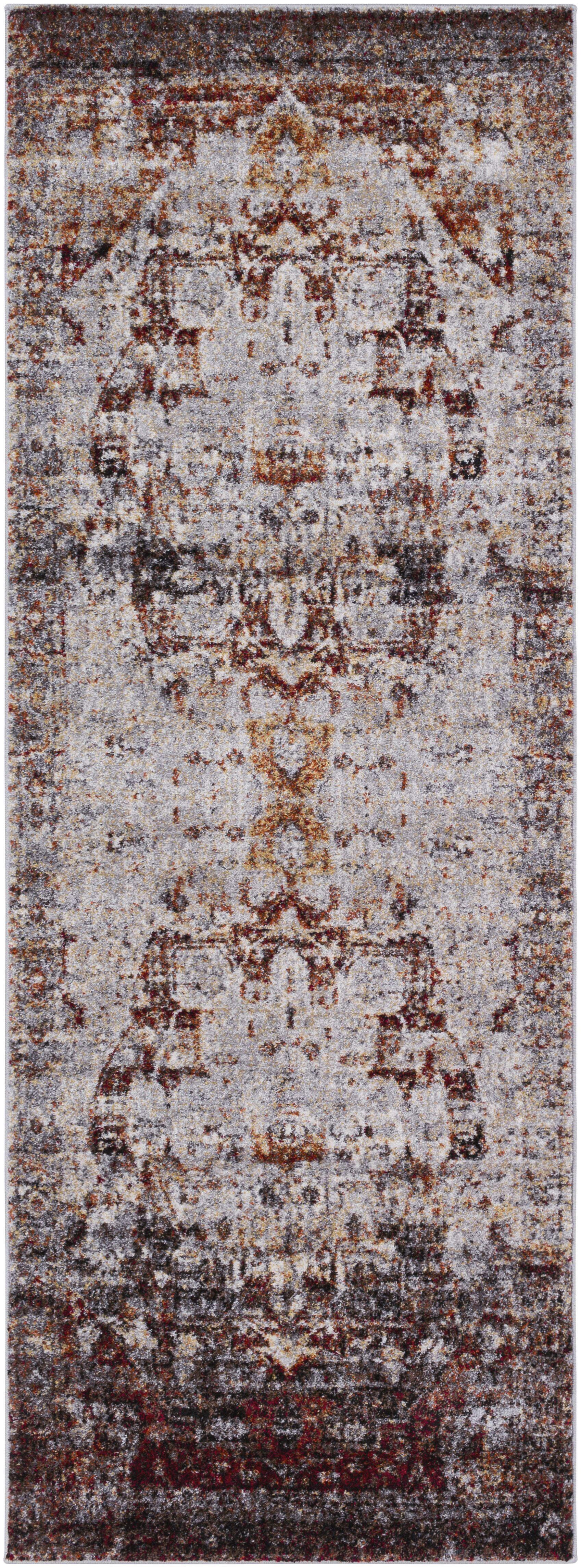 Brahim Red/Gray Area Rug Rug Size: Runner 2'7