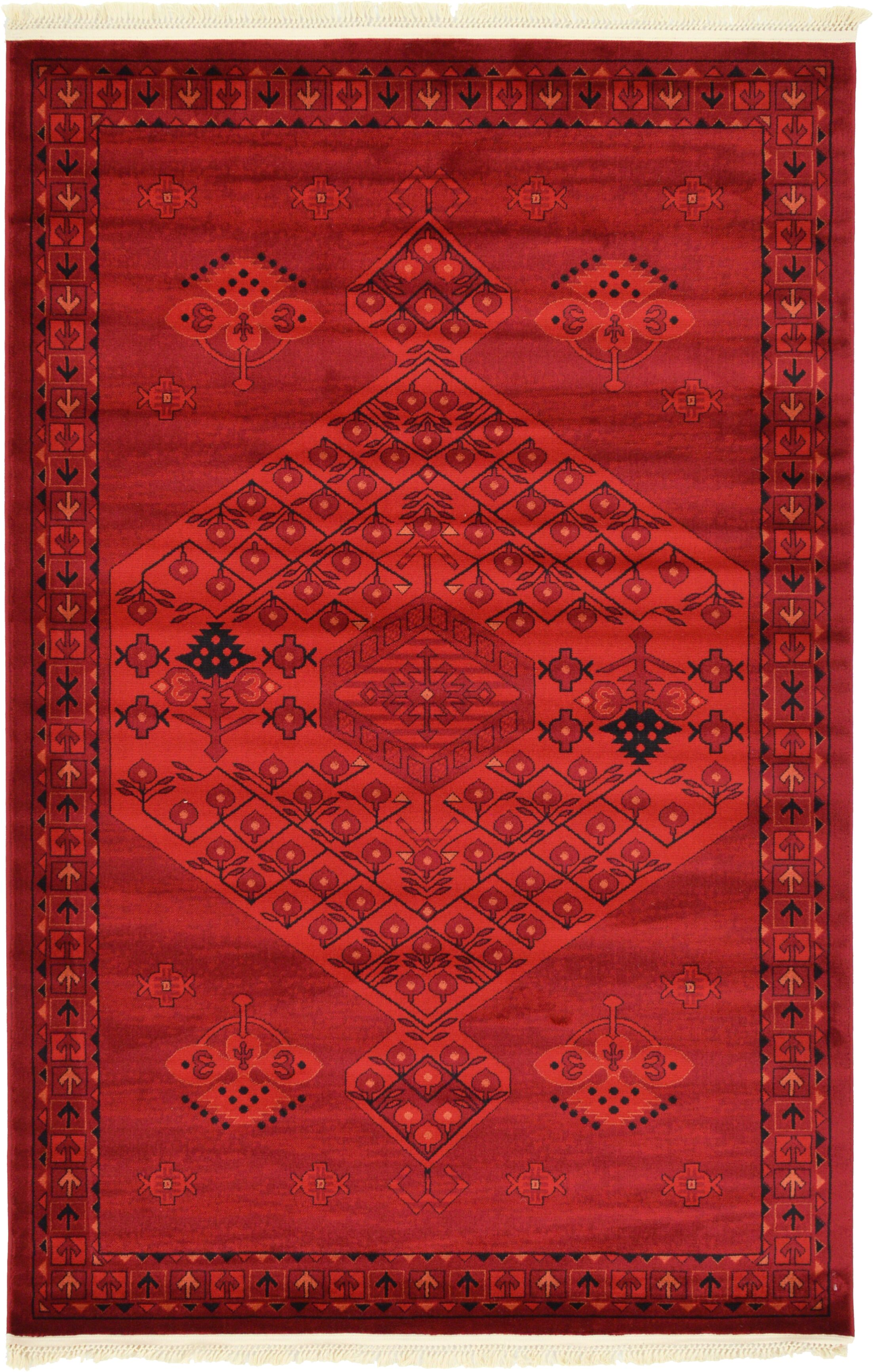 Kowloon Red Area Rug Rug Size: Rectangle 5' x 8'