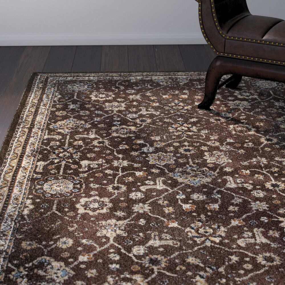 Quenby Brown/Ivory Area Rug Rug Size: Rectangle 9'10