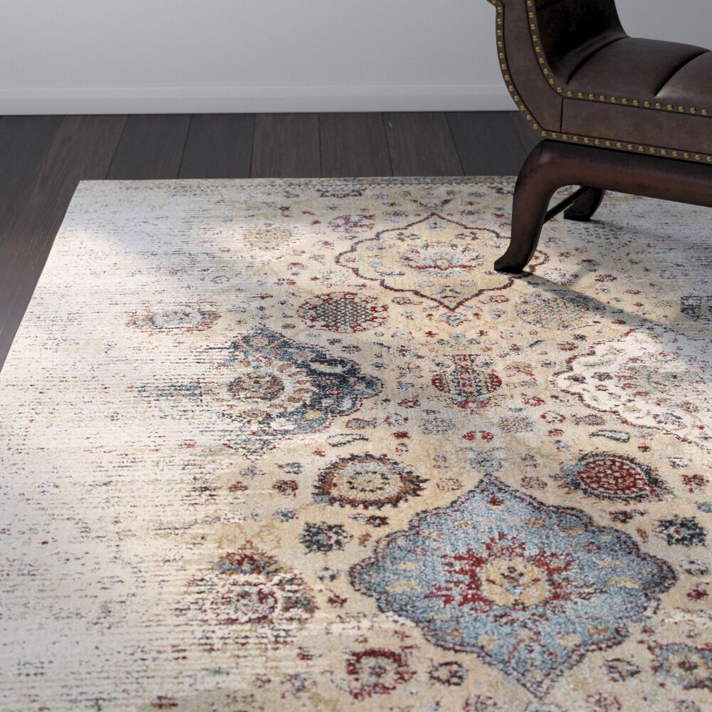 Quenby Ivory/Blue Area Rug Rug Size: Rectangle 6'7