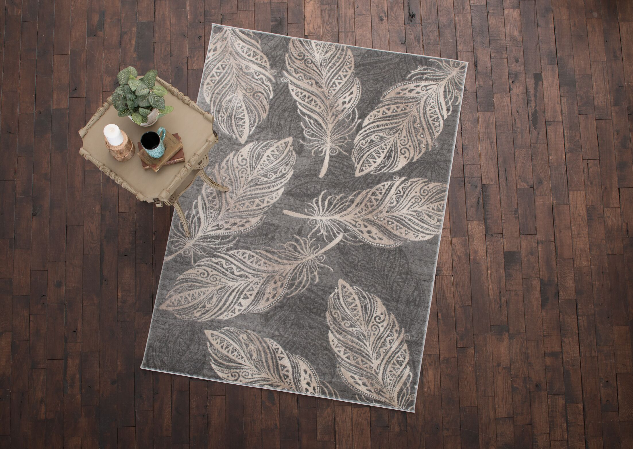 Orin Feather Gray Area Rug Rug Size: 7'10
