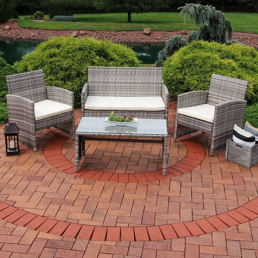 Fanchone 4 Piece Rattan Sofa Set with Cushions