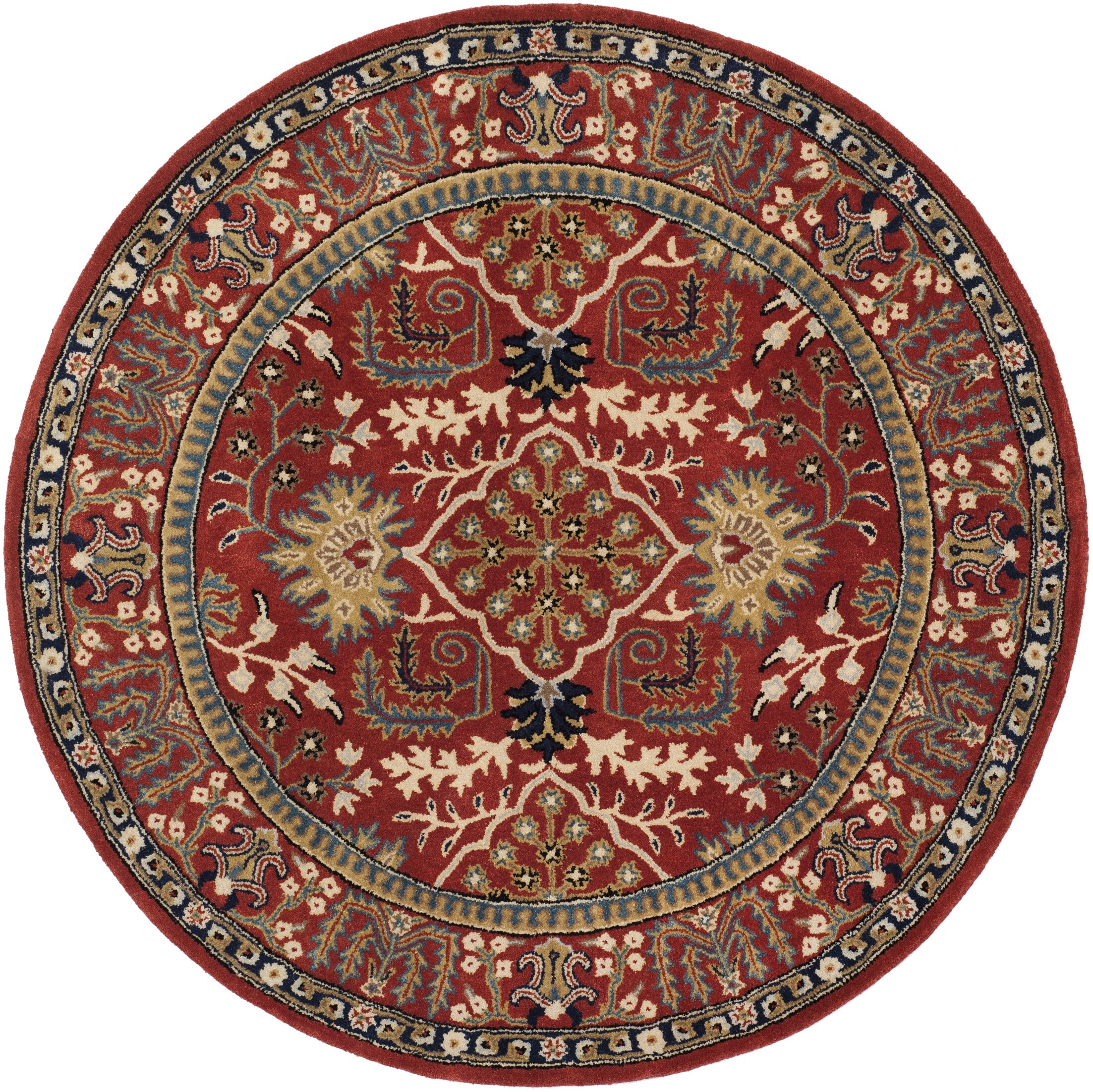 Genemuiden Hand-Tufted Red Area Rug Rug Size: Round 6'