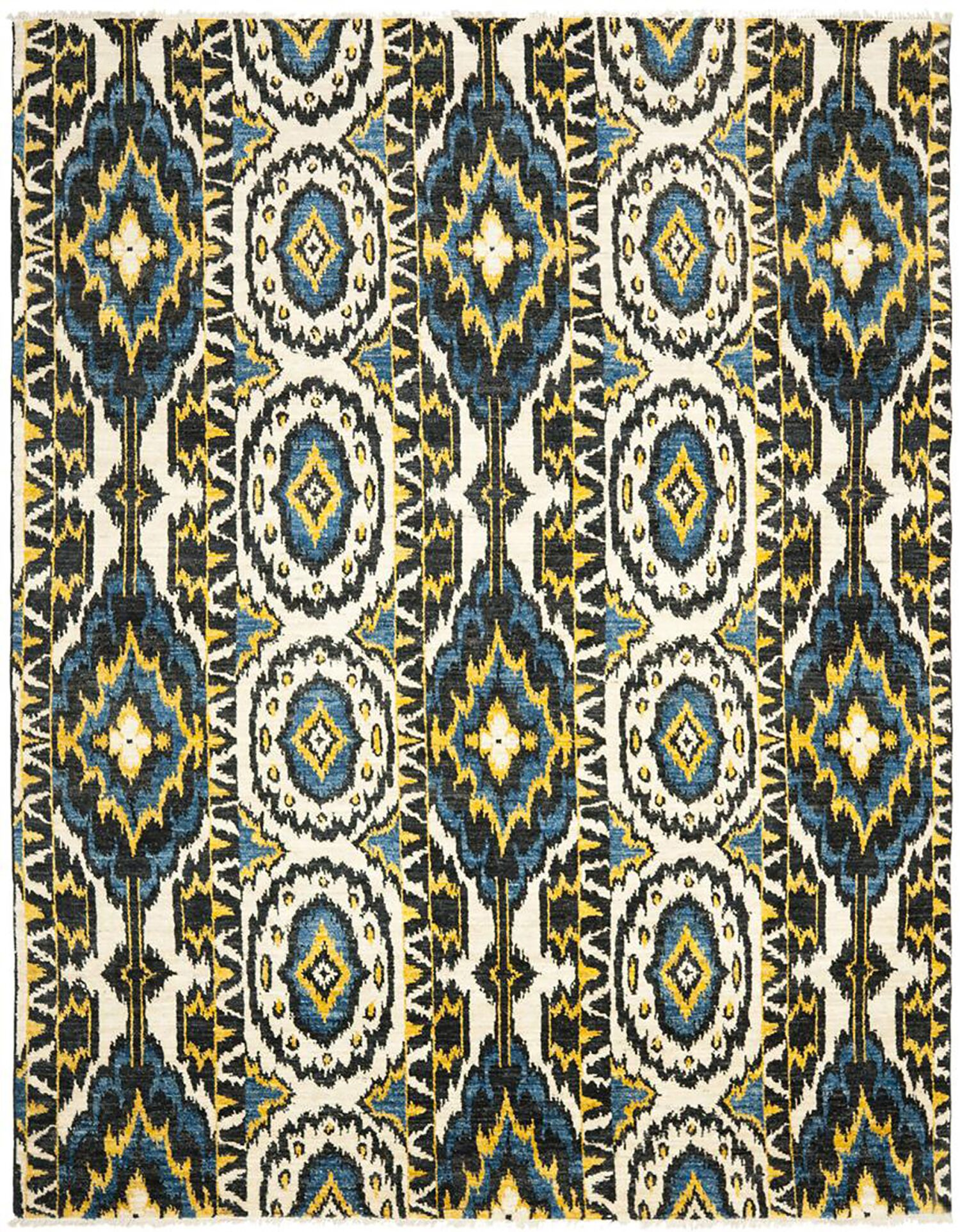 Almonburry Hand-Knotted Ivory/Blue Area Rug Rug Size: Rectangle 8' x 10'