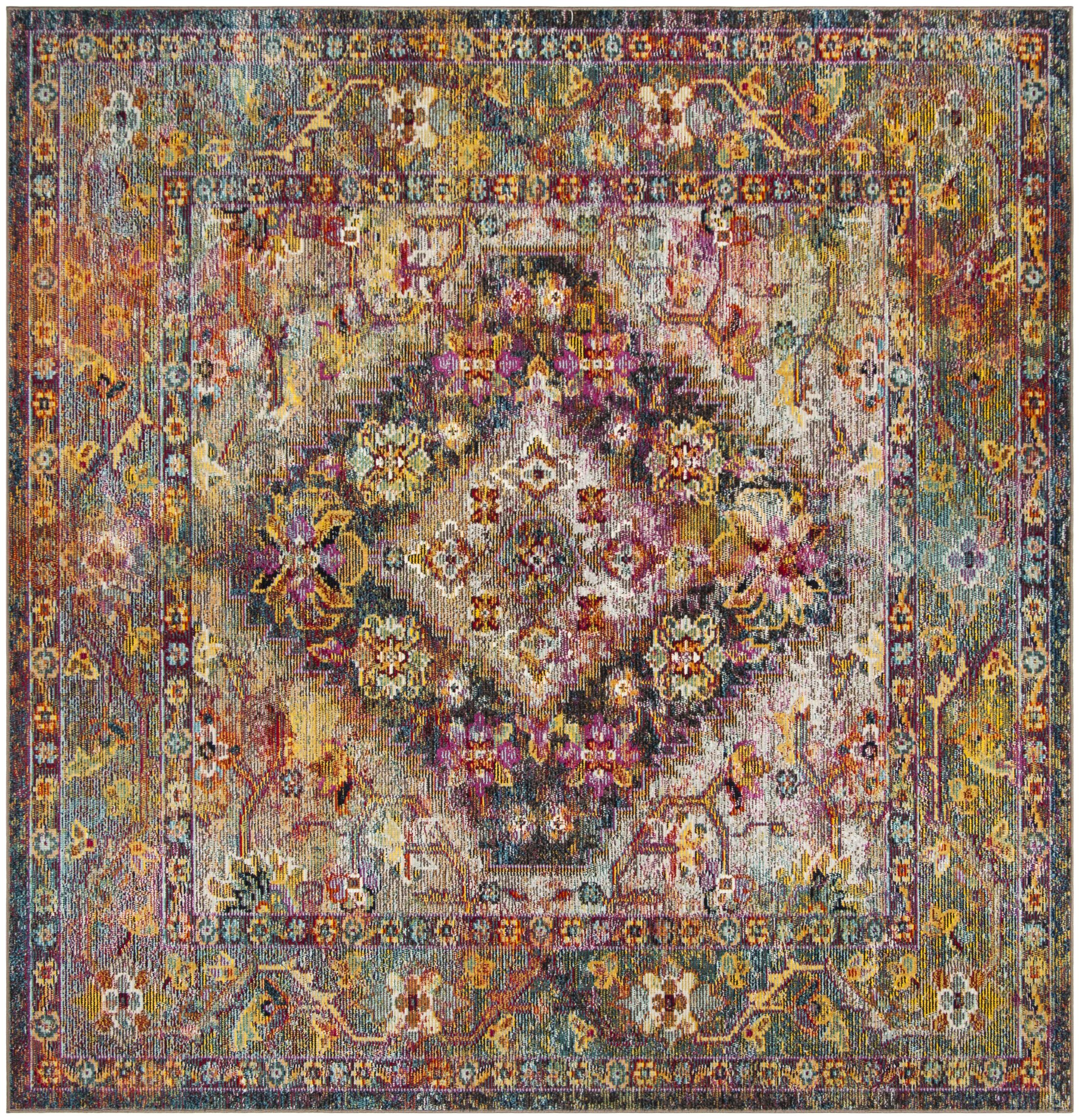 Vivace Pink/Yellow Area Rug Rug Size: Square 7'