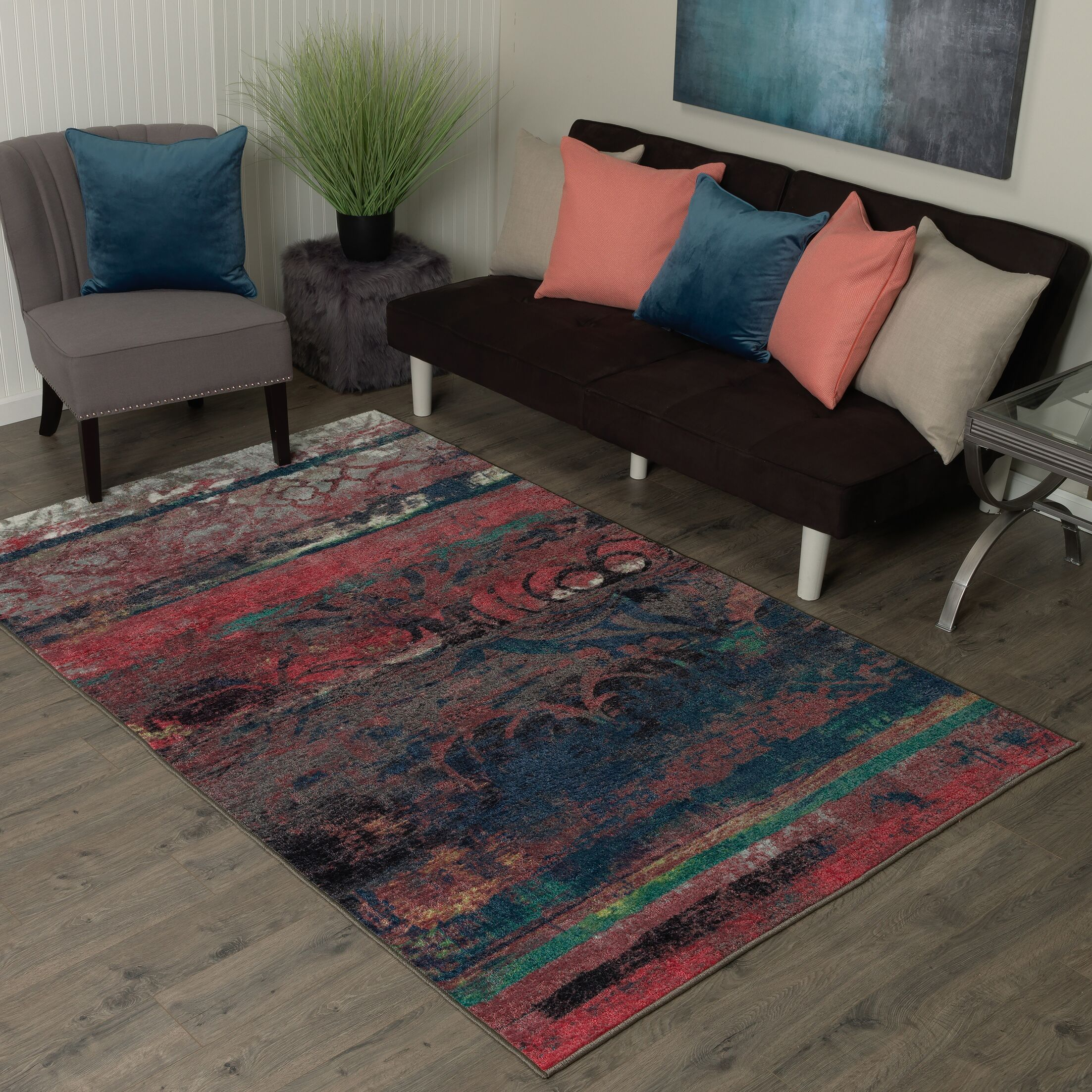 Vermont Eroded Pink/Green/Black Area Rug Rug Size: Rectangle 7'6