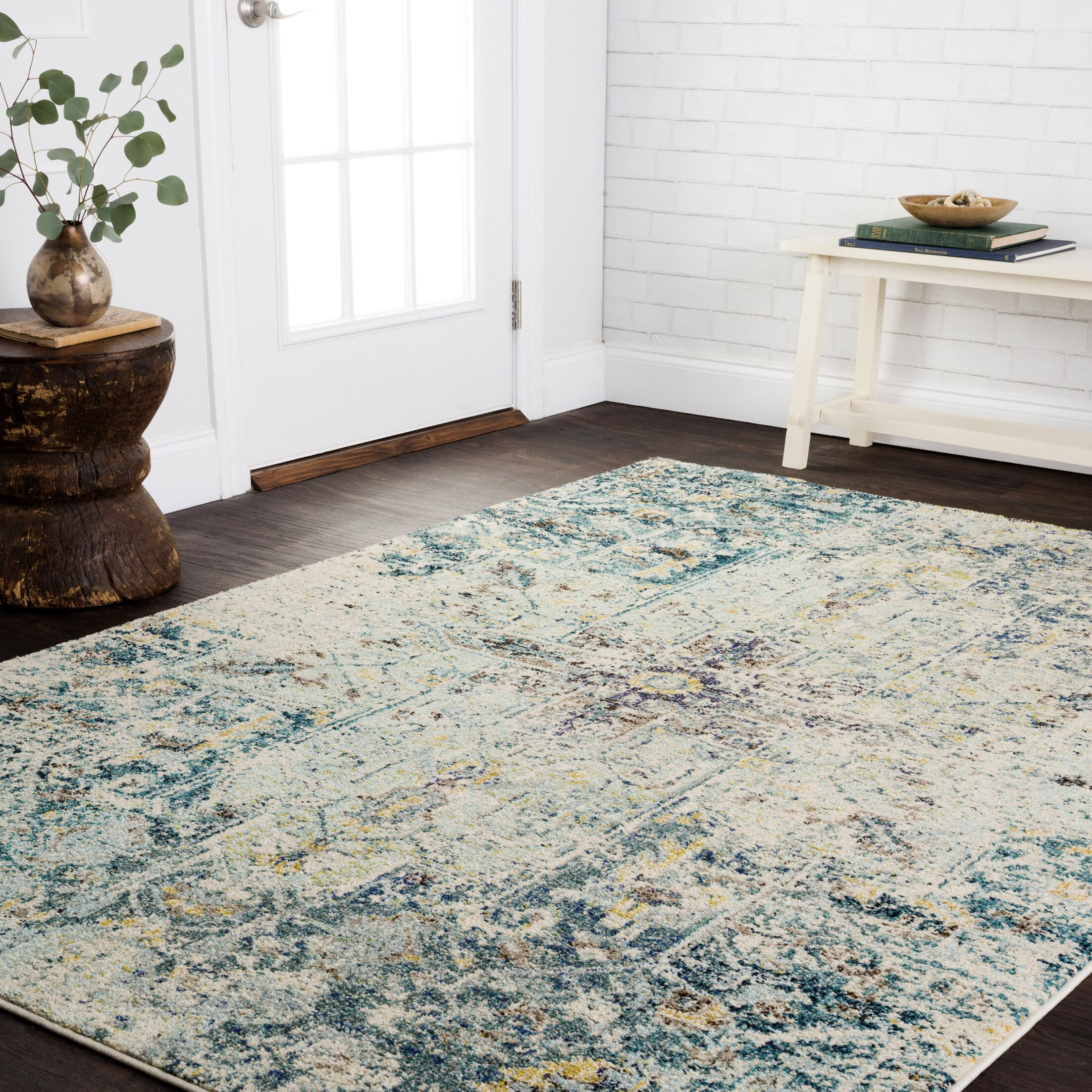 Stratton Brown/Navy Area Rug Rug Size: Rectangle 4' x 5'7