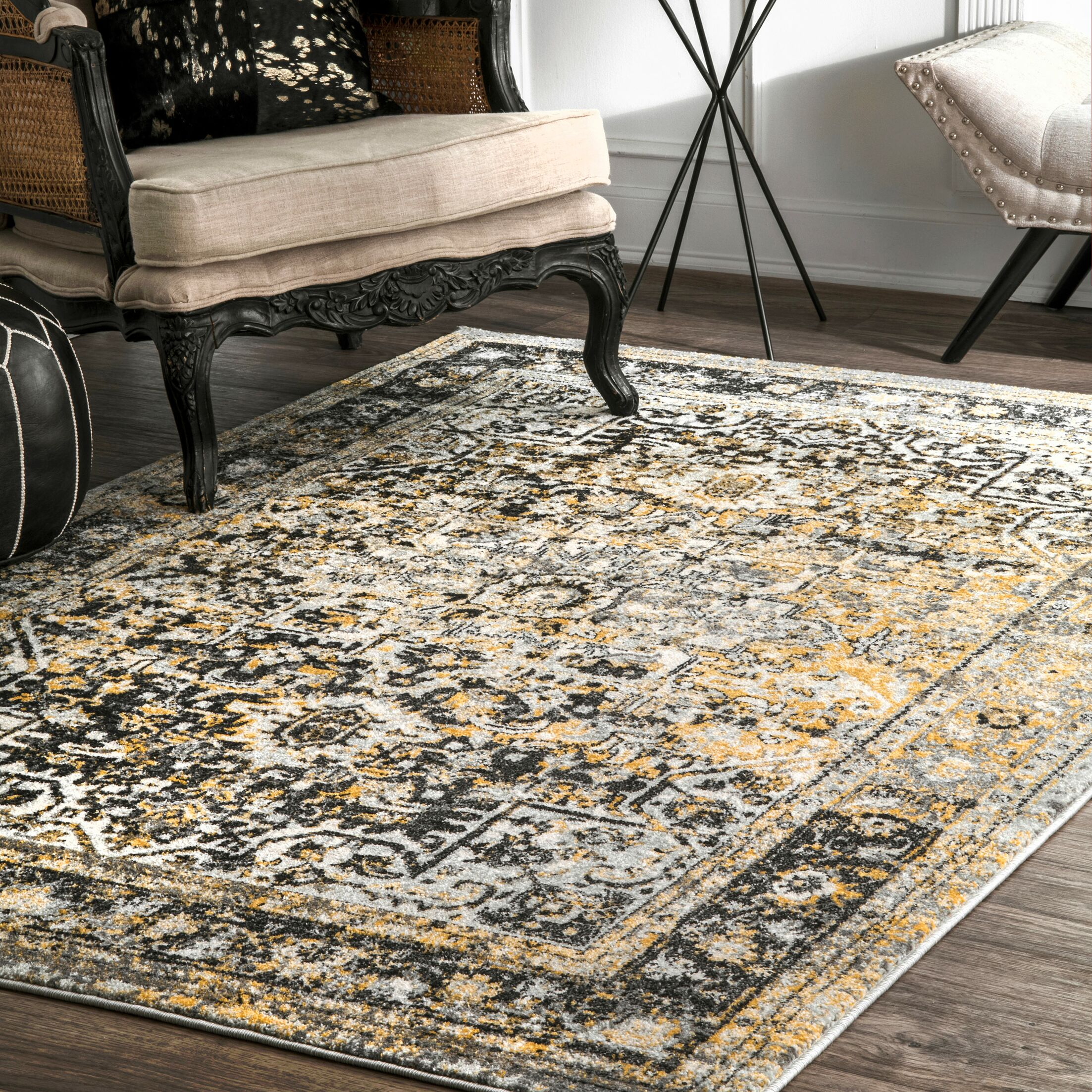 Reaves Gold Area Rug Rug Size: Rectangle 9' x 12'